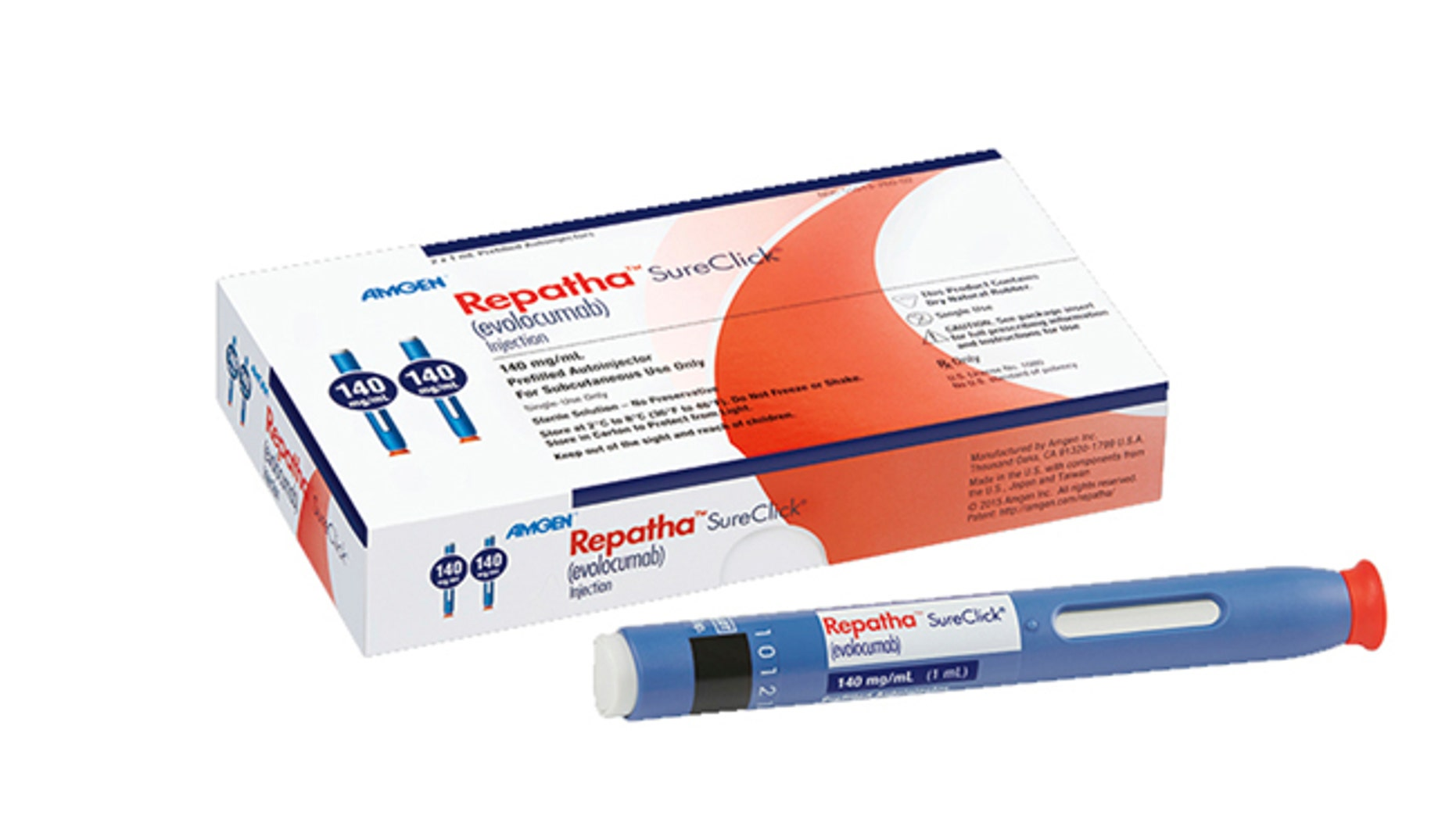 FILE - This undated image provided by Amgen Inc. shows the cholesterol-lowering drug Repatha. Contrary to some political claims, the FDA actually approved more drugs, including Repatha, and three months faster on average, than European regulators did over the last five years. Three researchers reviewed approvals in the U.S. and Europe and published their results Wednesday, April 5, 2017, in the New England Journal of Medicine. (Robert Dawson/Amgen via AP, File)