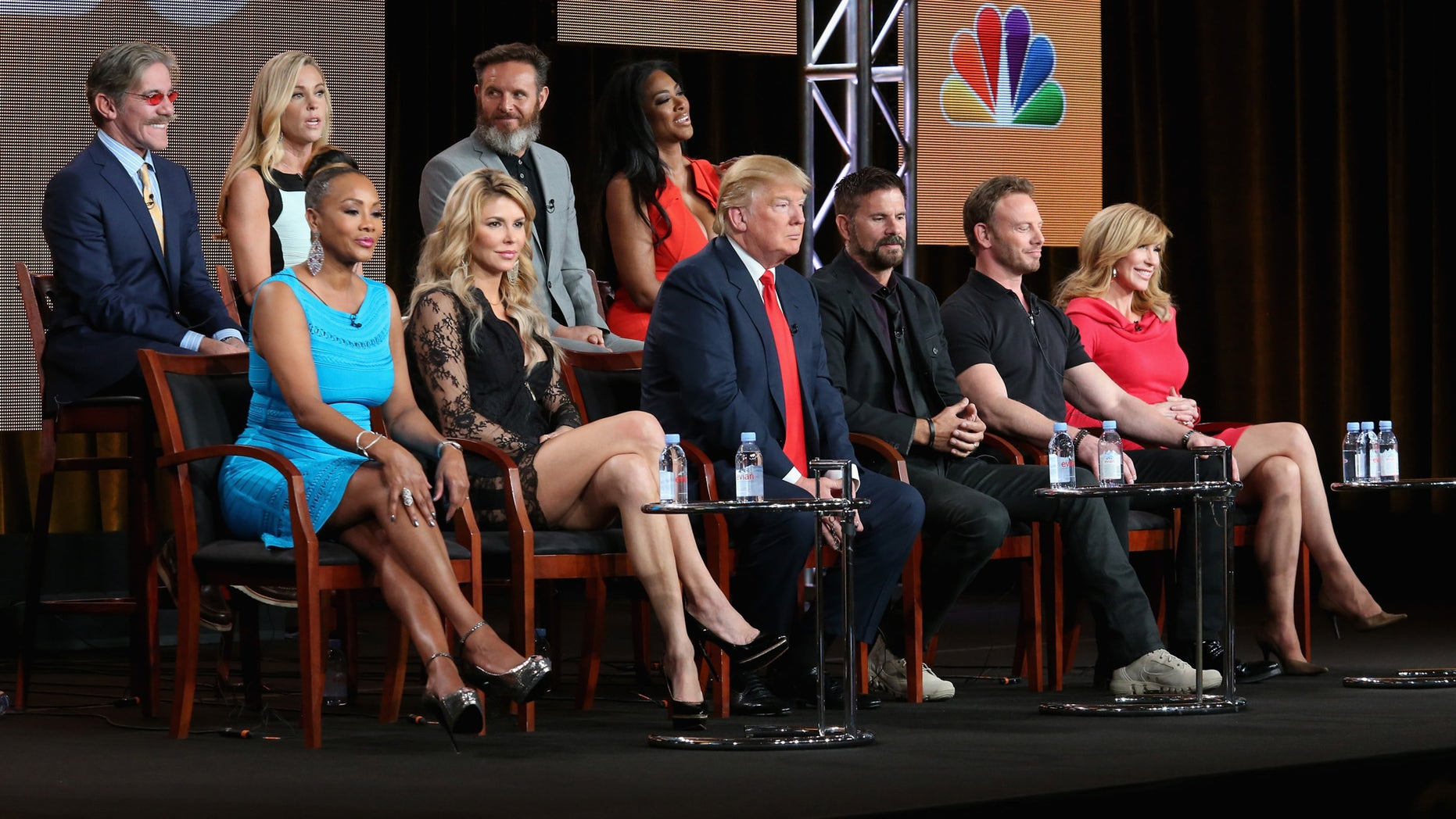 PASADENA, CA - JANUARY 16:  (L-R top row) Geraldo Rivera, TV personality Kate Gosselin, executive producer Mark Burnett and actress Kenya Moore. (L-R bottom row) Actress Vivica A. Fox, TV personality Brandi Glanville, executive producer/host Donald Trump, actor Lorenzo Lamas, actor Ian Ziering and Tv personality Leeza Gibbons speak onstage during the 'The Celebrity Apprentice' panel discussion at the NBC/Universal portion of the 2015 Winter TCA Tour at the Langham Hotel on January 16, 2015 in Pasadena, California.  (Photo by Frederick M. Brown/Getty Images)