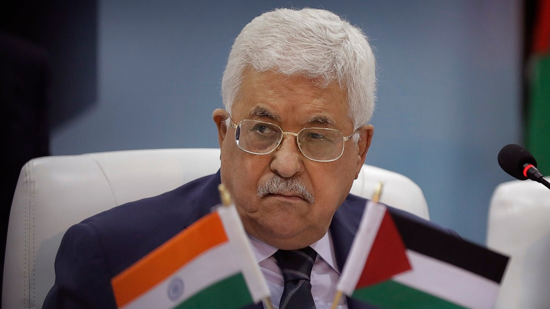 Palestinian President Mahmoud Abbas in New Delhi, India, Monday, May 15, 2017.