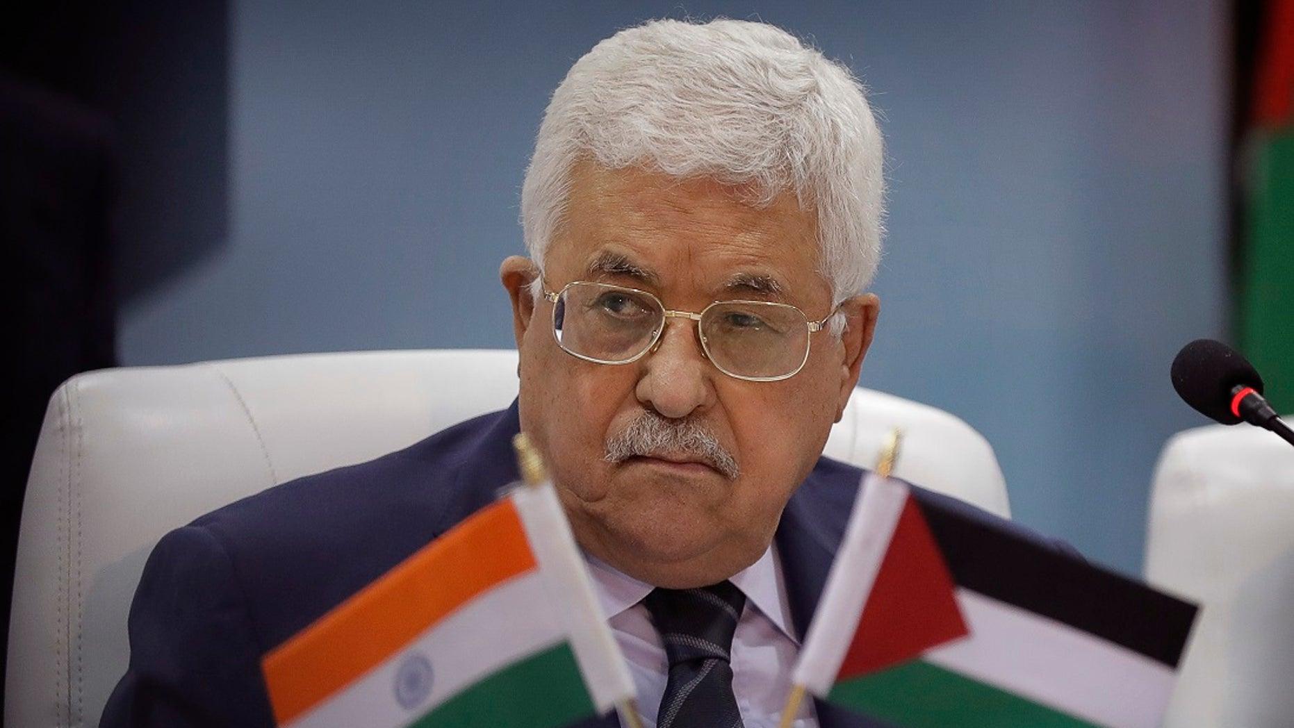 Palestinian President Mahmoud Abbas in New Delhi, India, Monday, May 15, 2017.
