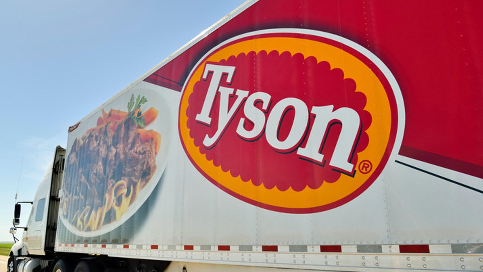 North Platte, Nebraska, USA - June 28, 2013: A Tyson Foods semi truck on Interstate 80 near North Platte. Tyson Foods is a multi national food processor.