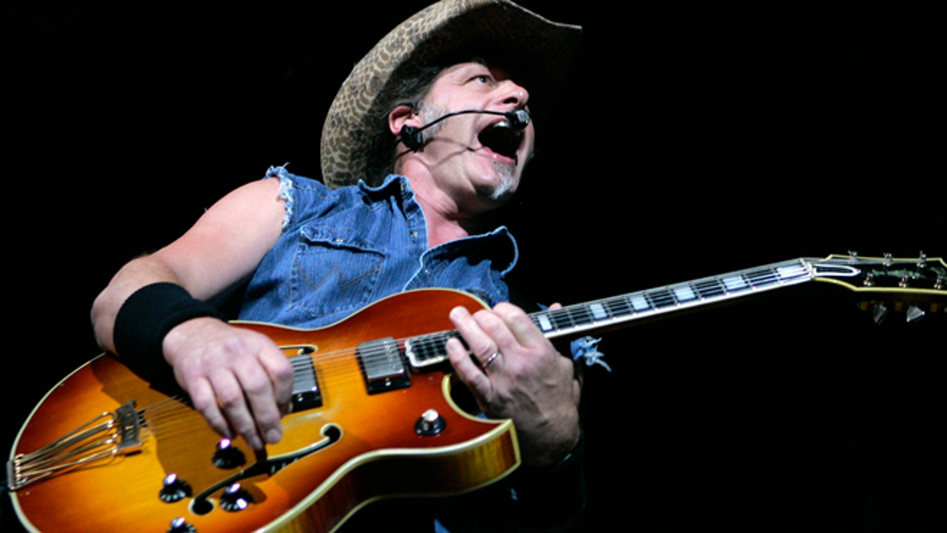 Ted Nugent performs at a concert at the House of Blues at the Mandalay Bay Resort in Las Vegas, Nevada in this file image from August 11, 2007.