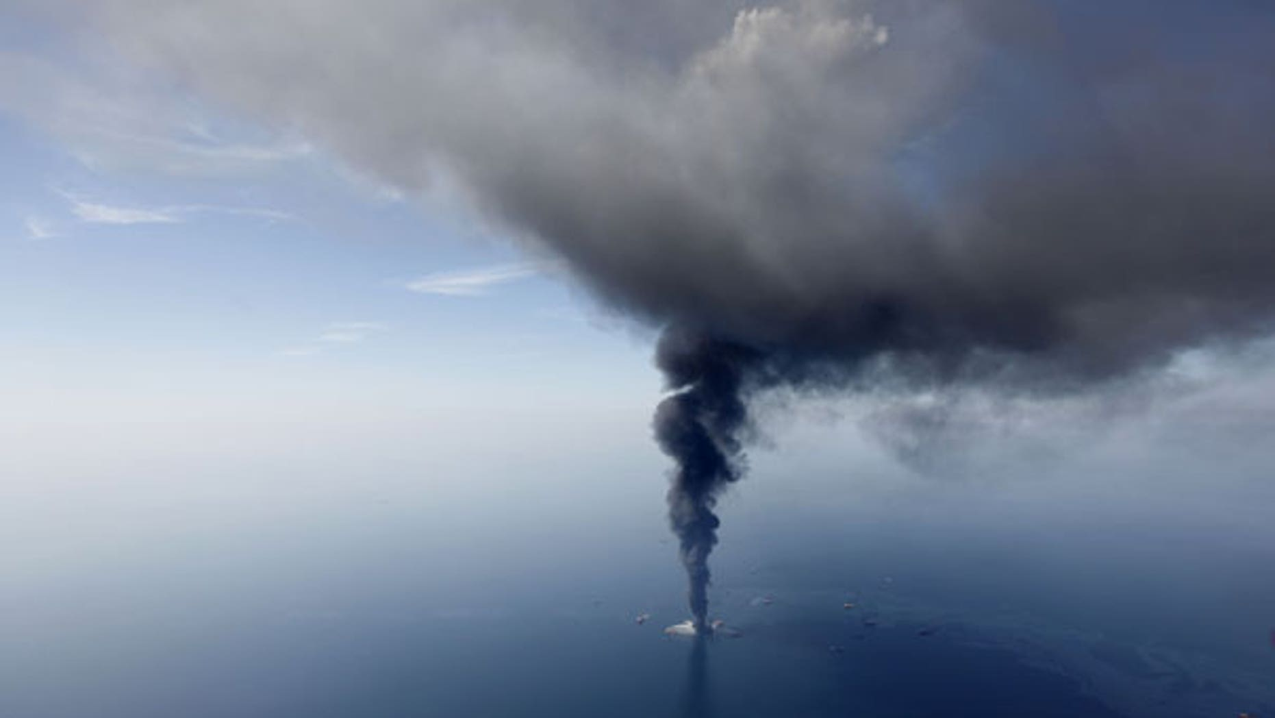 April 21: In this aerial photo taken in the Gulf of Mexico more than 50 miles southeast of Venice on Louisiana's tip, the Deepwater Horizon oil rig is seen burning. (AP)