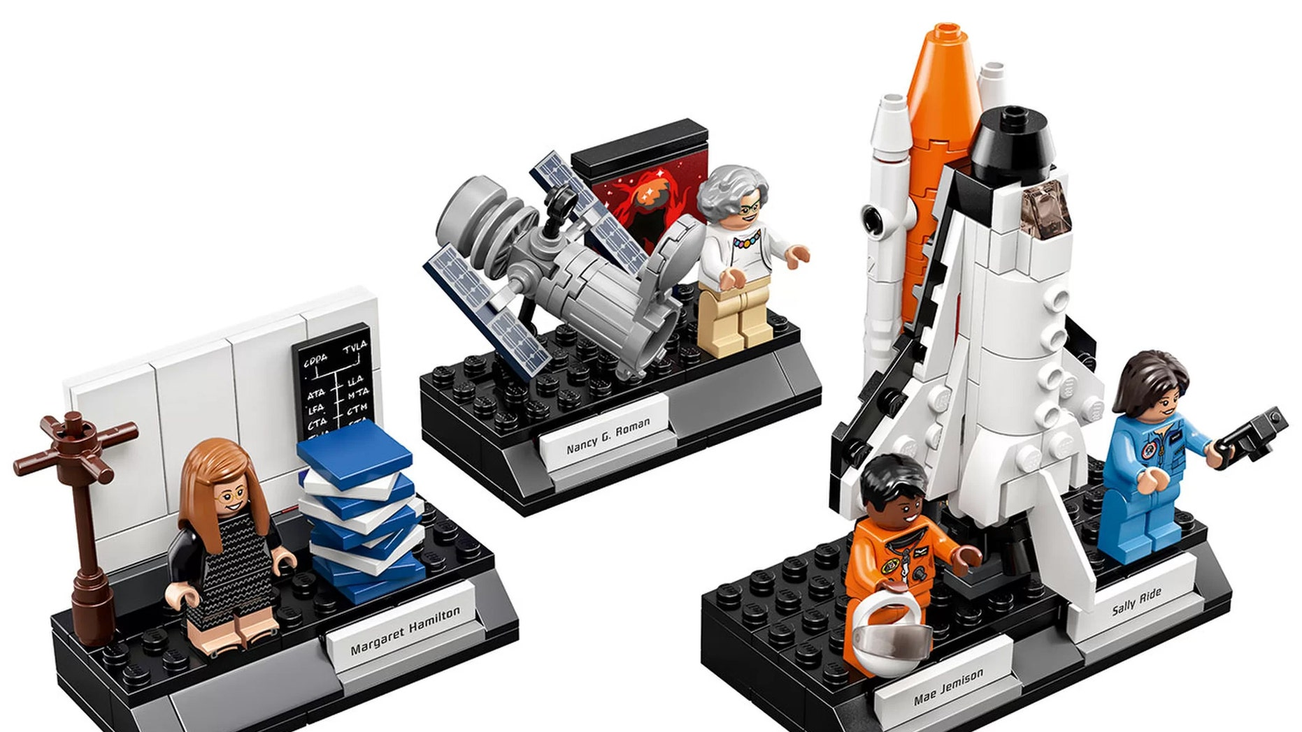 """The Lego Ideas """"Women of NASA"""" set includes minifigures modeled after astronomer Nancy Grace Roman, computer scientist Margaret Hamilton and astronauts Sally Ride and Mae Jemison. Credit: Lego"""