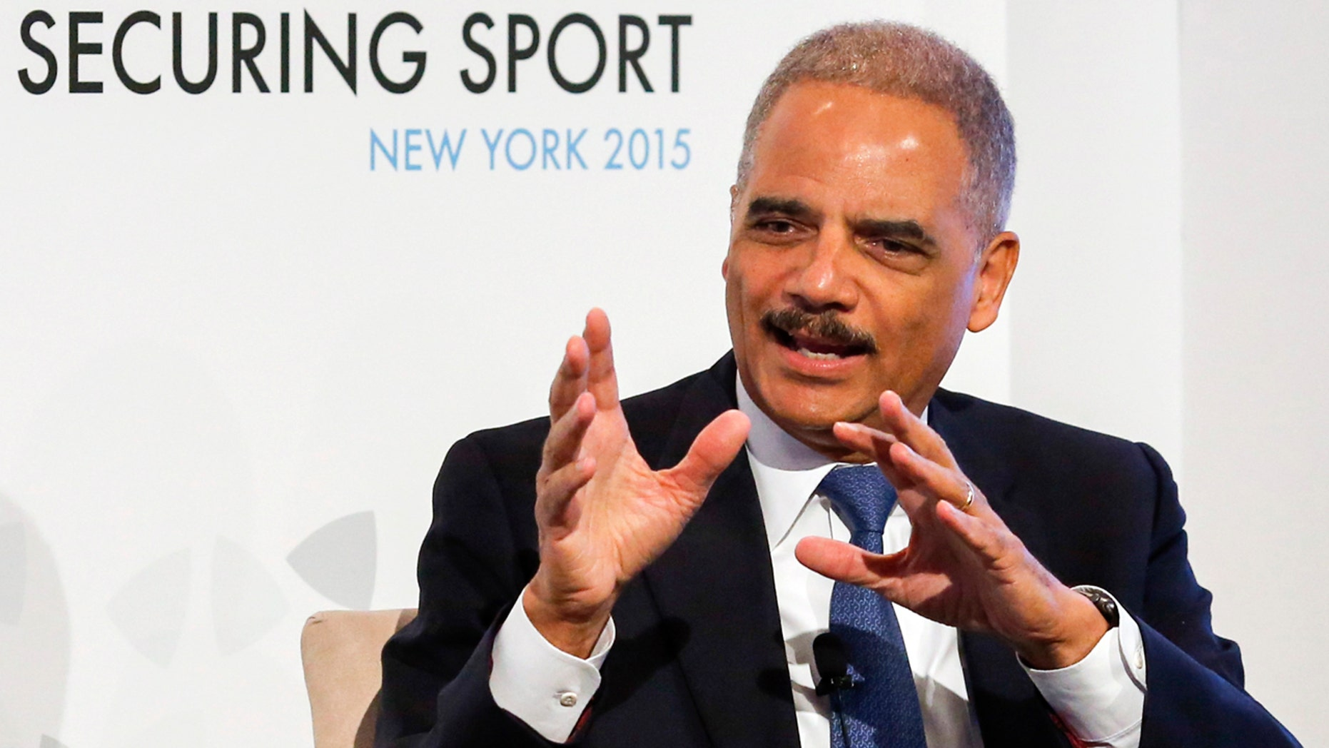 ICSS - Securing Sport 2015 - Harold Pratt House, New York - 4/11/15Former U.S. Attorney General Eric Holder speaks on Day 2 of Securing Sport 2015 - the annual conference of the International Centre for Sport Security (ICSS) Photo Eduardo Munoz for ICSSLivepic - RTX1UT6H