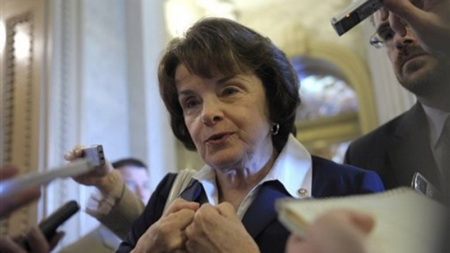 Sen. Dianne Feinstein speaks to reporters on Capitol Hill in Washington July 31.