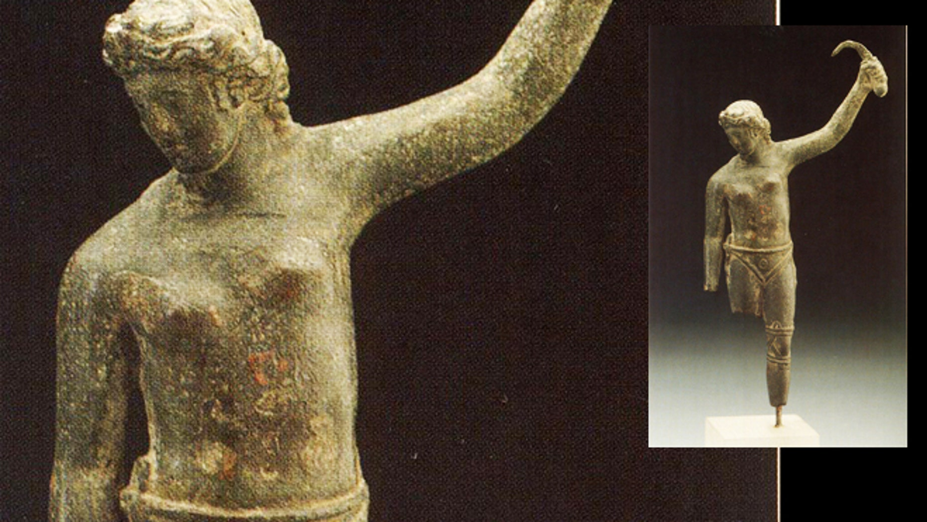 The newly identified bronze statue reveals what may be a female gladiator standing in a victory pose, while looking down at what is presumably her fallen opponent.