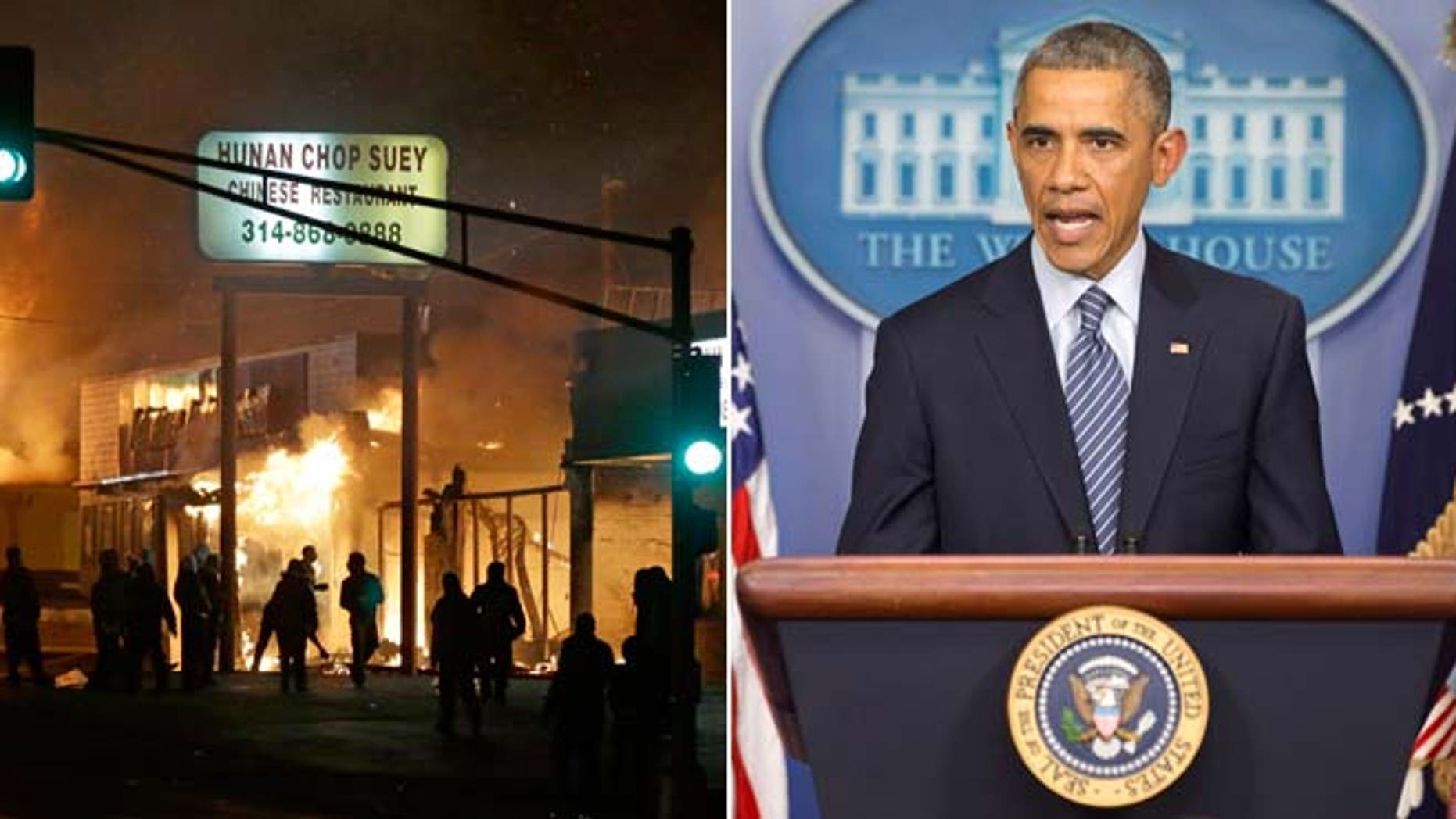 These Tuesday, Nov. 24, 2014 photos show people gathering around burning stores in Ferguson, Mo. and President Barack Obama speaking to the media in the briefing room of the White House in Washington, after the Ferguson grand jury decided not to indict police officer Darren Wilson in the shooting death of Michael Brown.