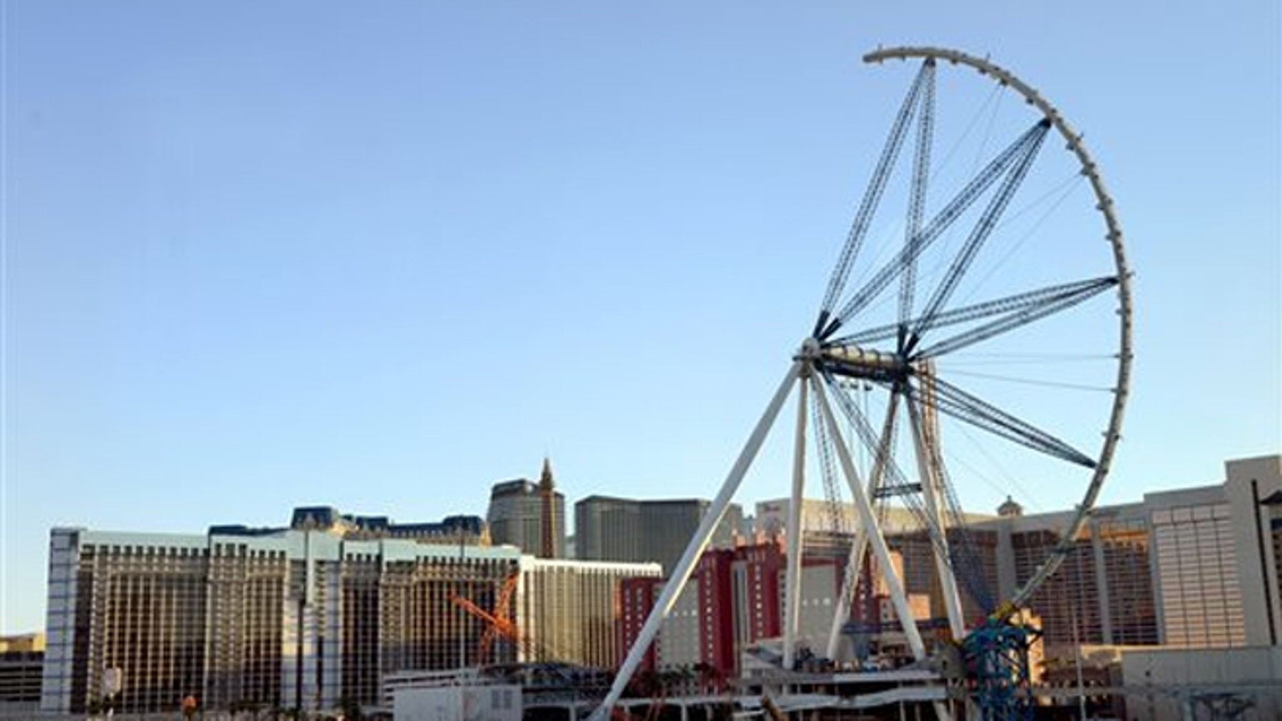 Aug. 14, 2013: The High Roller observation wheel is seen halfway completed in Las Vegas.