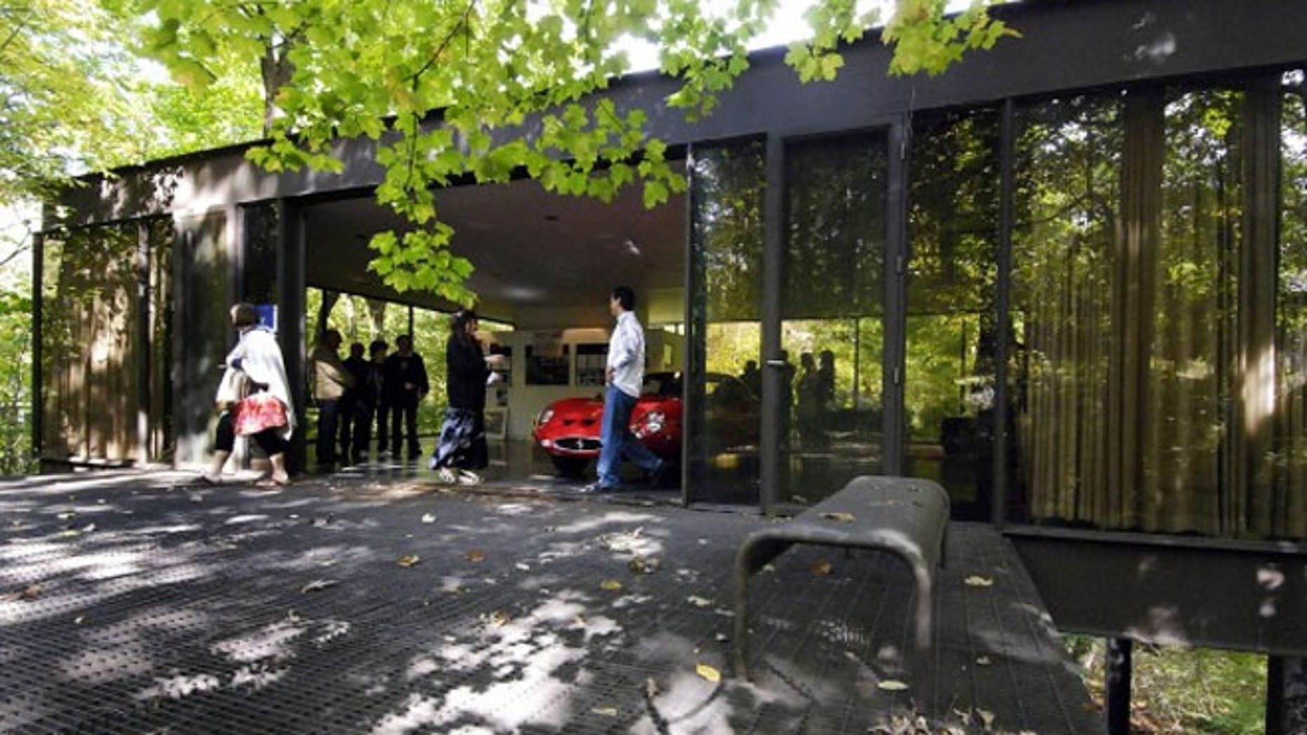 """Visitors tour the pavilion in the back of the modernist home in Highland Park, Ill., that was featured in the movie """"Ferris Bueller's Day Off."""""""