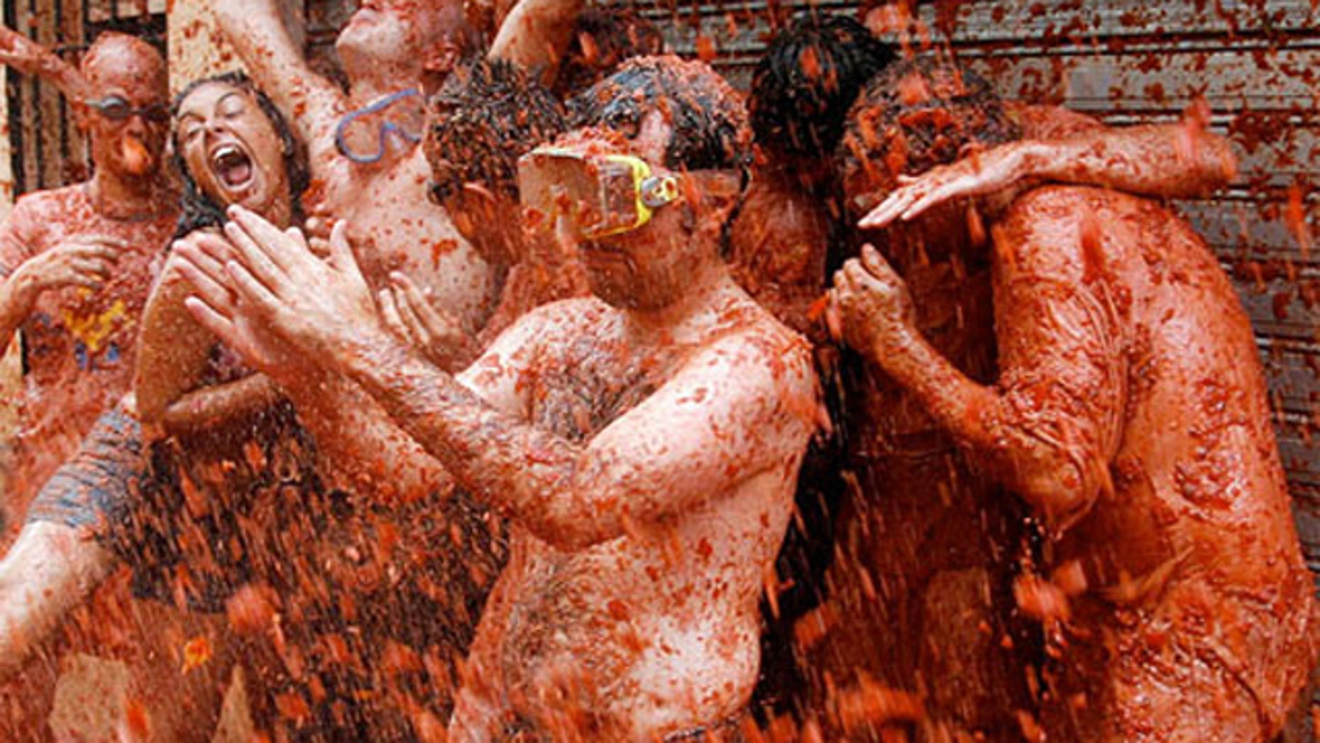 The famous La Tomatina festival is the epic tomato-launching battle ensues until 100 tons of tomato guts covers the Spanish  town.