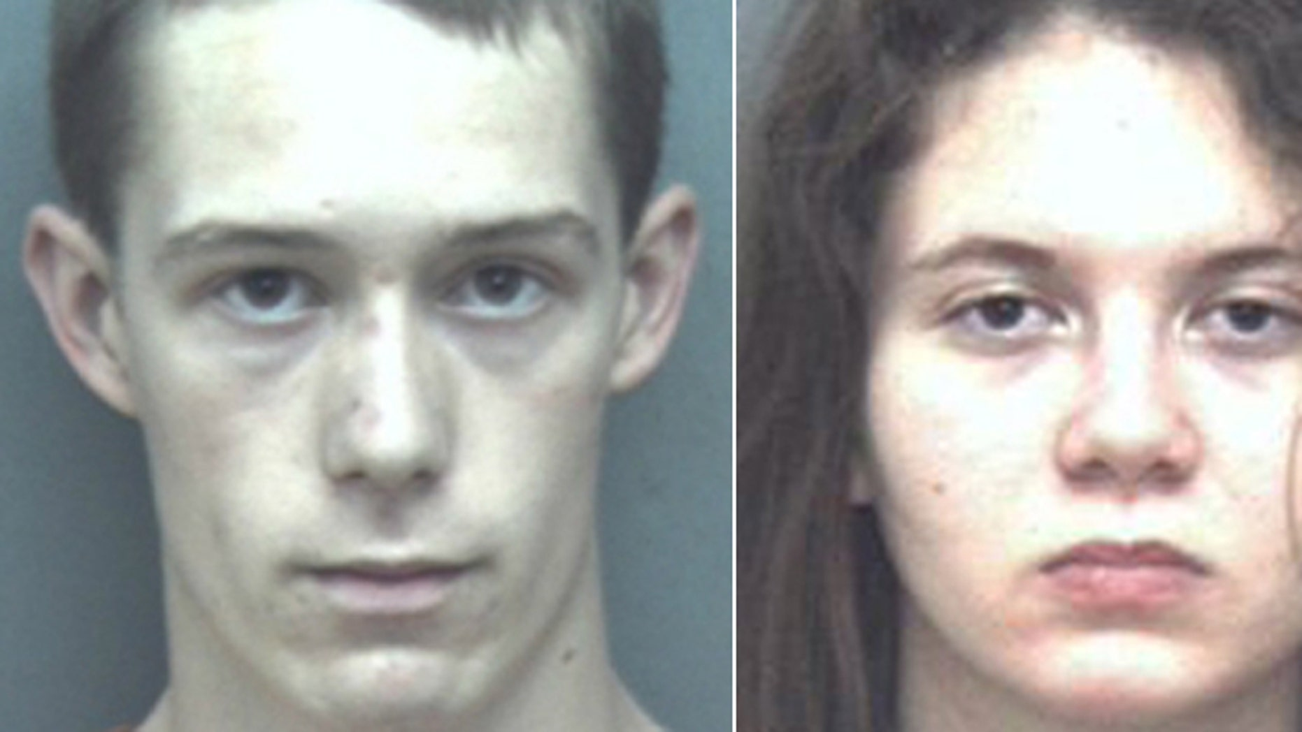 Mug shots of David Eisenhauer and Natalie Keepers, charged in the death of a Virginia teen. (Blacksburg Police Department)