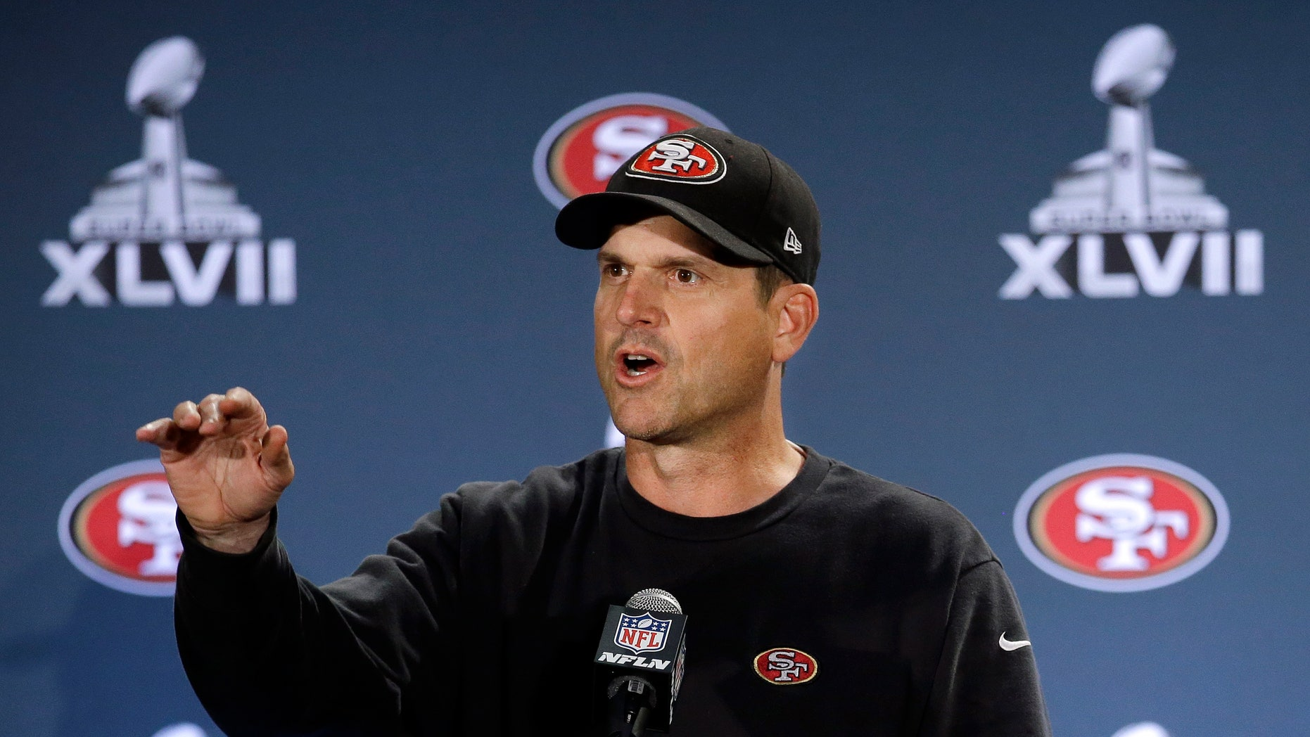 San Francisco 49ers head coach Jim Harbaugh talks with reporters during a news conference on Monday, Jan. 28, 2013, in New Orleans. The 49ers are scheduled to play the Baltimore Ravens in the NFL Super Bowl XLVII football game on Feb. 3. (AP Photo/Mark Humphrey)