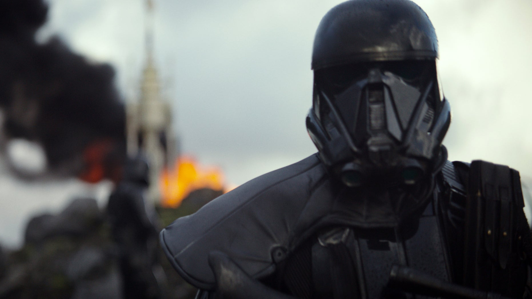 """This image released by Disney shows a scene from the upcoming film, """"Rogue One: A Star Wars Story."""" The world got a glimpse of âRogue One: A Star Wars Storyâ in teaser trailer that debuted Thursday, April 7, 2016 on Good Morning America that introduces the rag tag rebels who unite to steal the plans for the Death Star, including âThe Theory of Everythingâsâ Felicity Jones. The film directed by Gareth Edwards also stars Diego Luna, Forest Whitaker and Ben Mendelsohn. (Disney via AP)"""