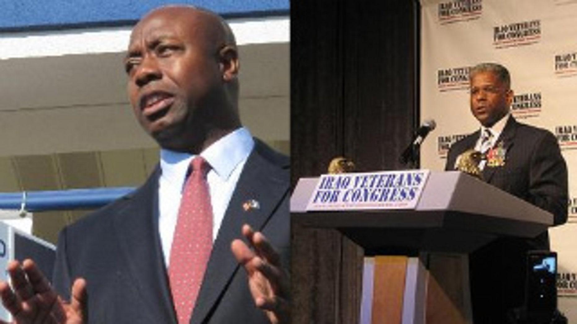Congressmen-elect Tim Scott of South Carolina (left) and Allen West of Florida. (AP Photo/Bruce Smith, Allen West Campaign)