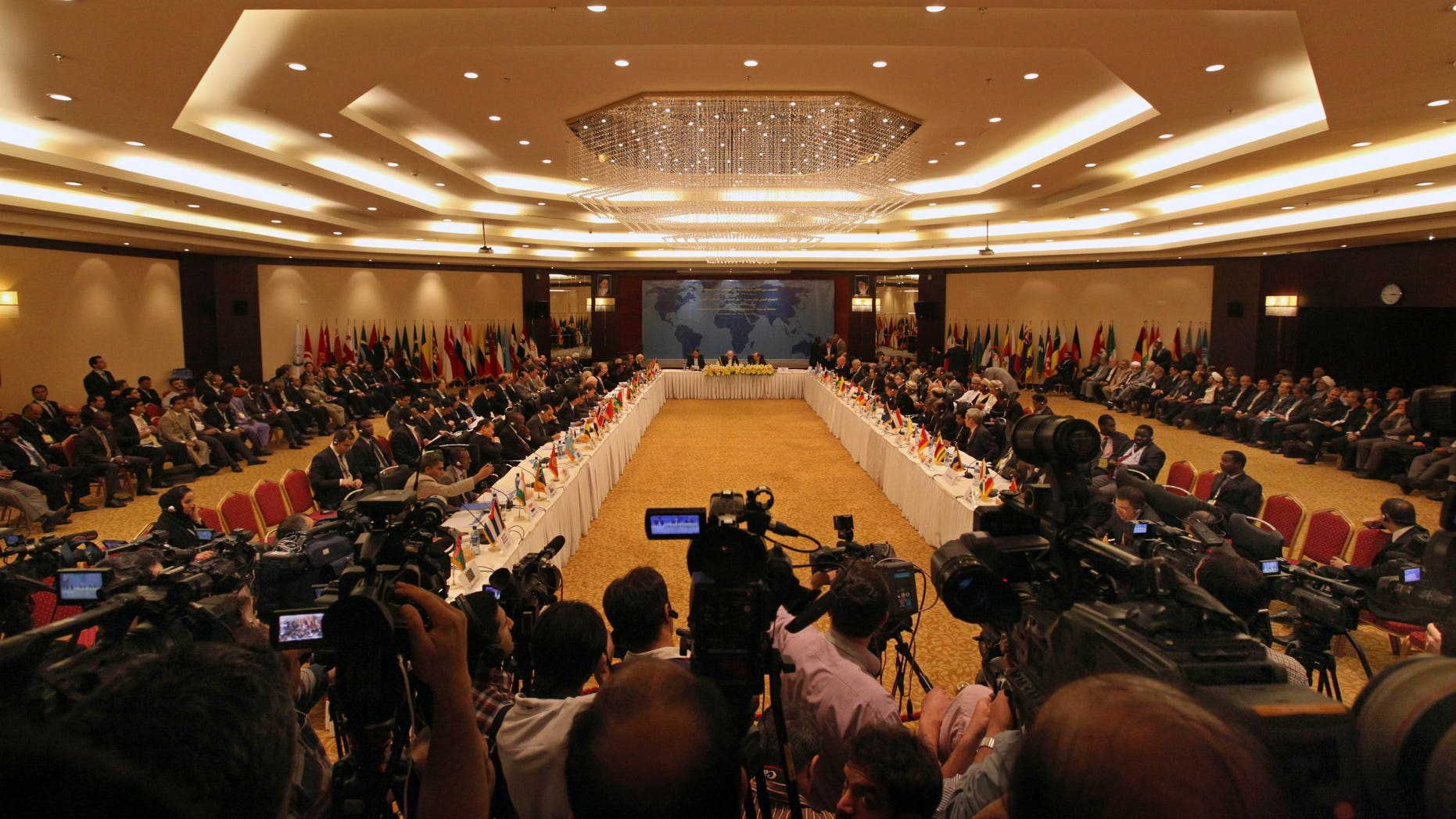 """A general view of an international conference on Syria called """"Political Solution- Regional Stability"""", at an hotel, in Tehran, Iran Wednesday, May 29, 2013. Iran has expressed its support for an international conference to end the bloodshed in Syria. Iranian Foreign Minister Ali Akbar Salehi says Tehran """"supports Geneva talks and U.N. efforts."""" The U.S. and Russia are leading a joint push to launch Syria peace talks, possibly next month in Geneva, though there is little evidence to suggest that either side in Syria is ready to halt more than two years of violence that has killed more than 70,000 people. (AP Photo/Vahid Salemi)"""