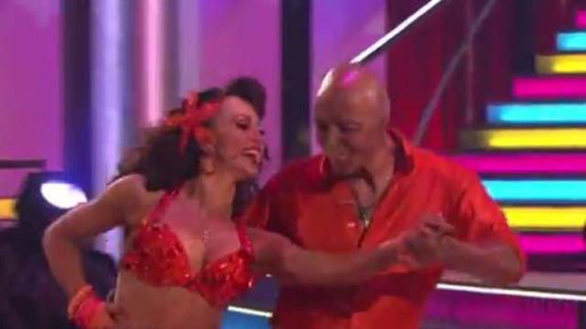 "Oct. 17, 2011: J.R. Martinez and Karina Smirnoff dance to a samba rendition of ""Conga"" on Dancing With the Stars Monday night."