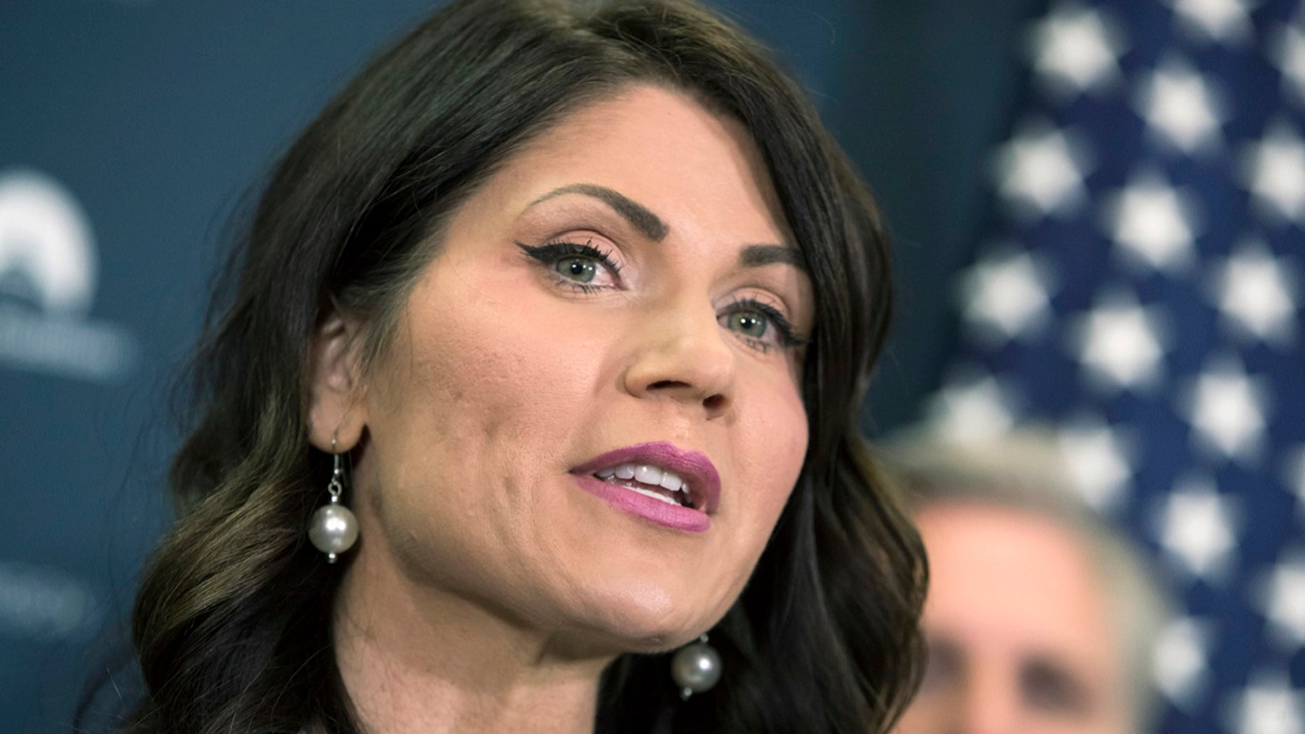 Rep. Kristi Noem, R-S.D., and South Dakota gubernatorial candidate, speaks on Capitol Hill in Washington, Dec. 5, 2017. Noem and state Attorney General Marty Jackley are competing for the Republican nomination for governor in the June 5, 2018, primary.