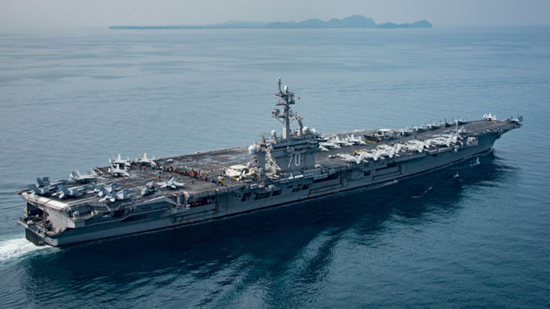 USS Carl Vinson in the Sunda Strait in Indonesia on Friday