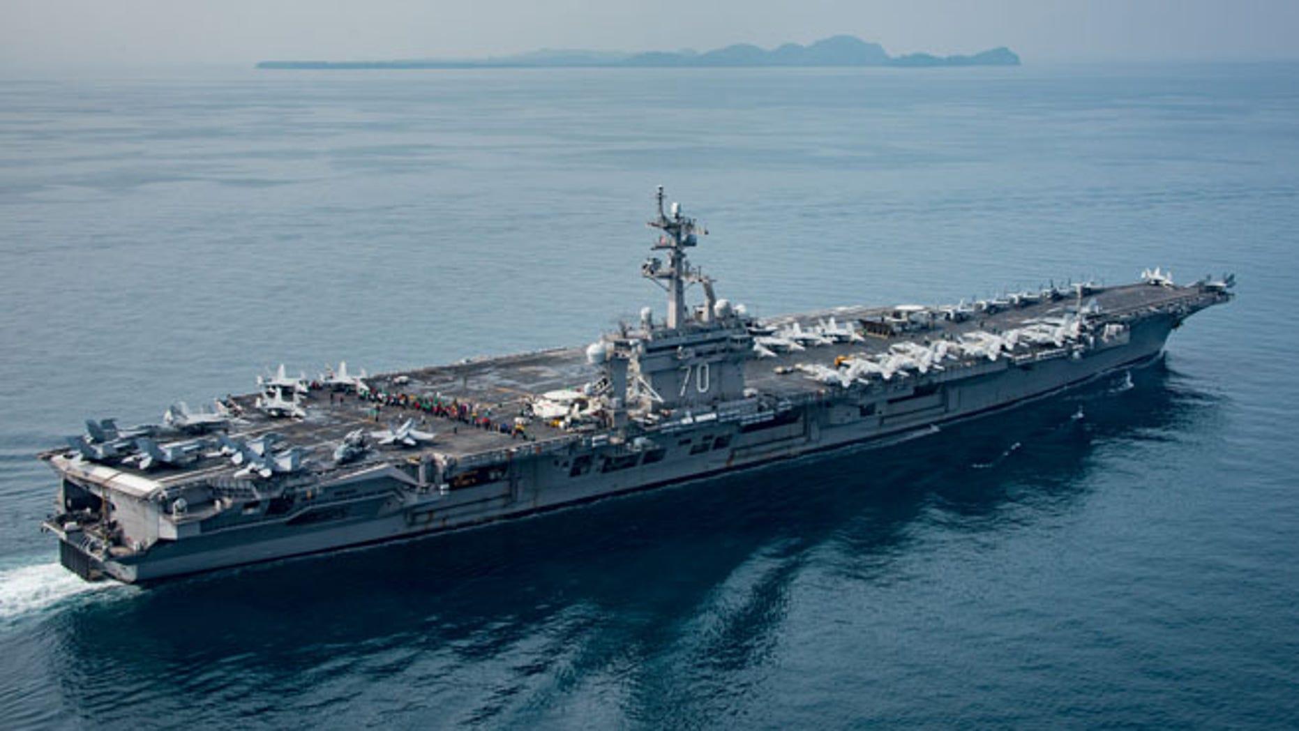 USS Carl Vinson in the Sunda Strait in Indonesia on Friday
