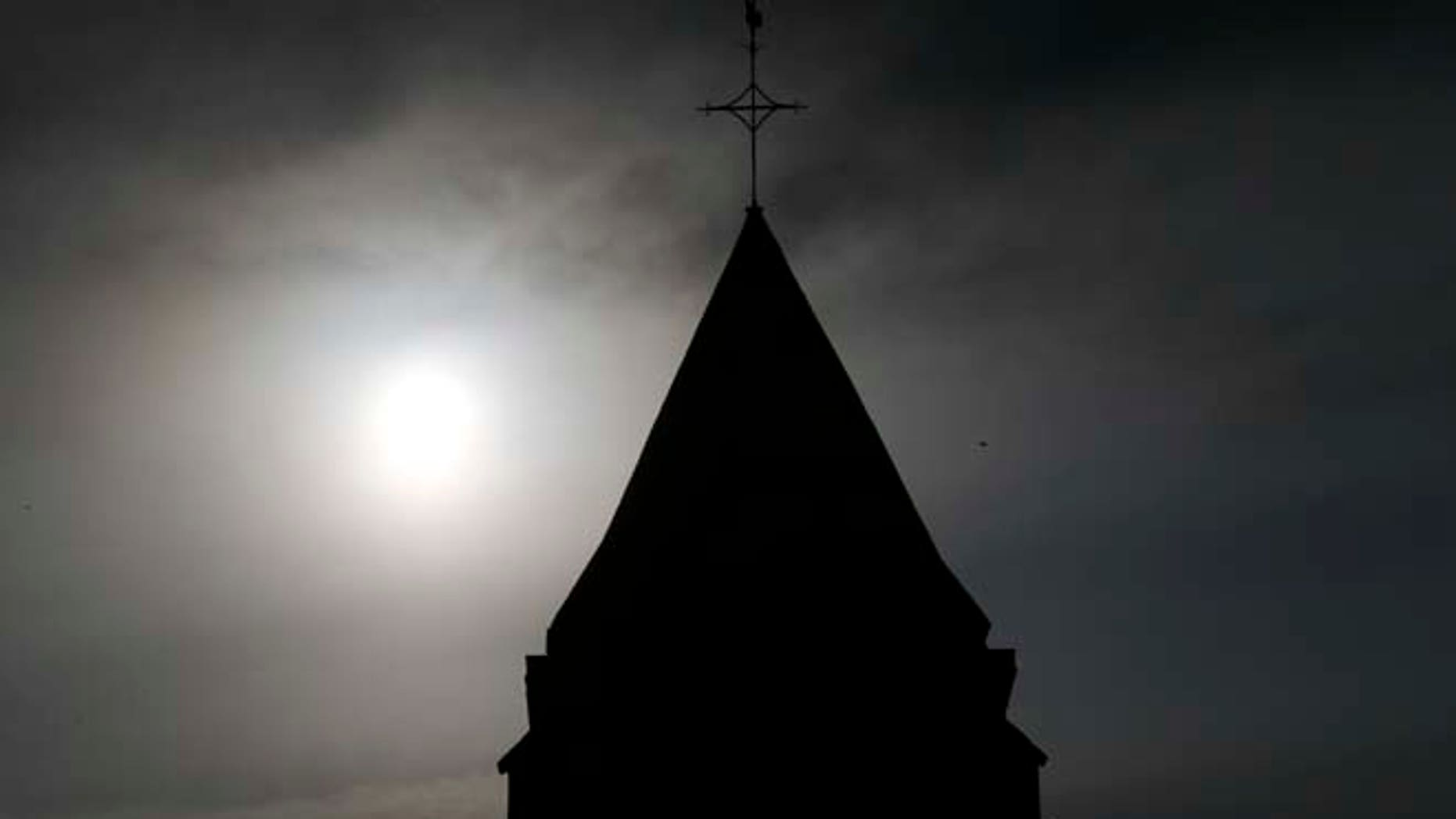 A view shows the bell tower of the church in Saint-Etienne-du-Rouvray near Rouen in Normandy, France