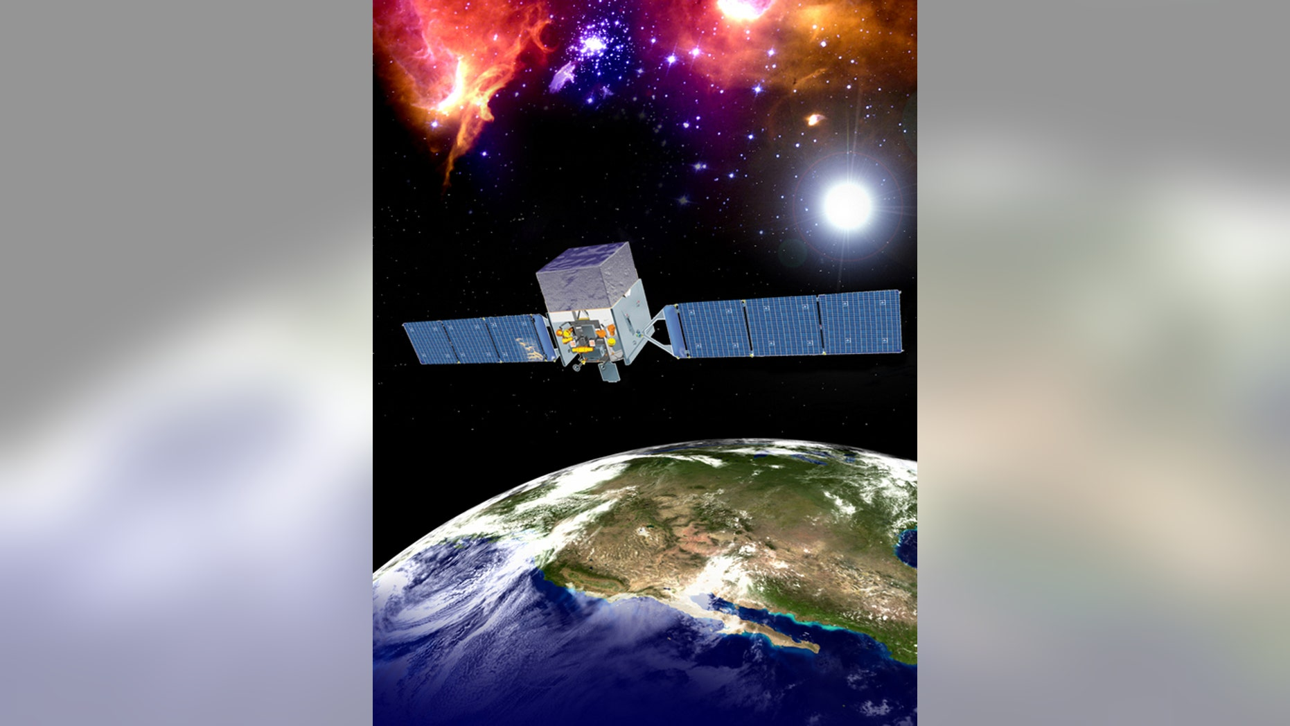 An artist's depiction of the Fermi Gamma-ray Space Telescope (FGST) in orbit.
