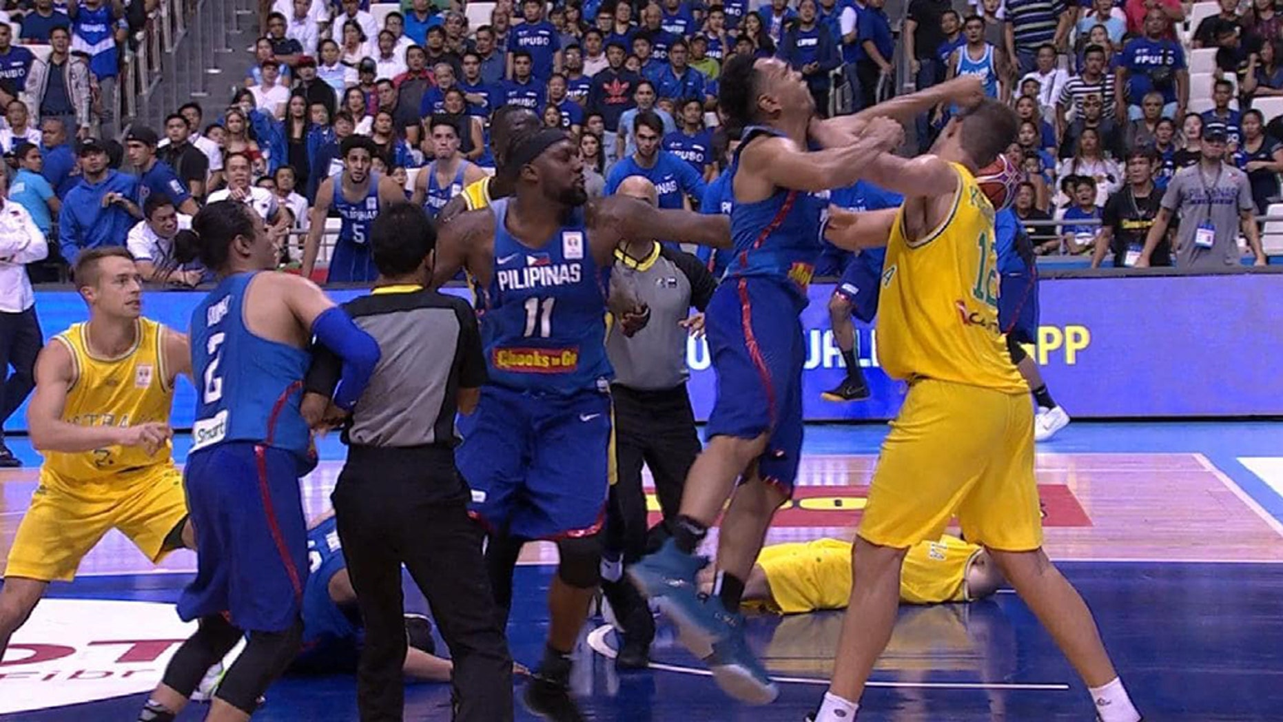 A violent brawl broke out during a game between Australia and the Philippines.