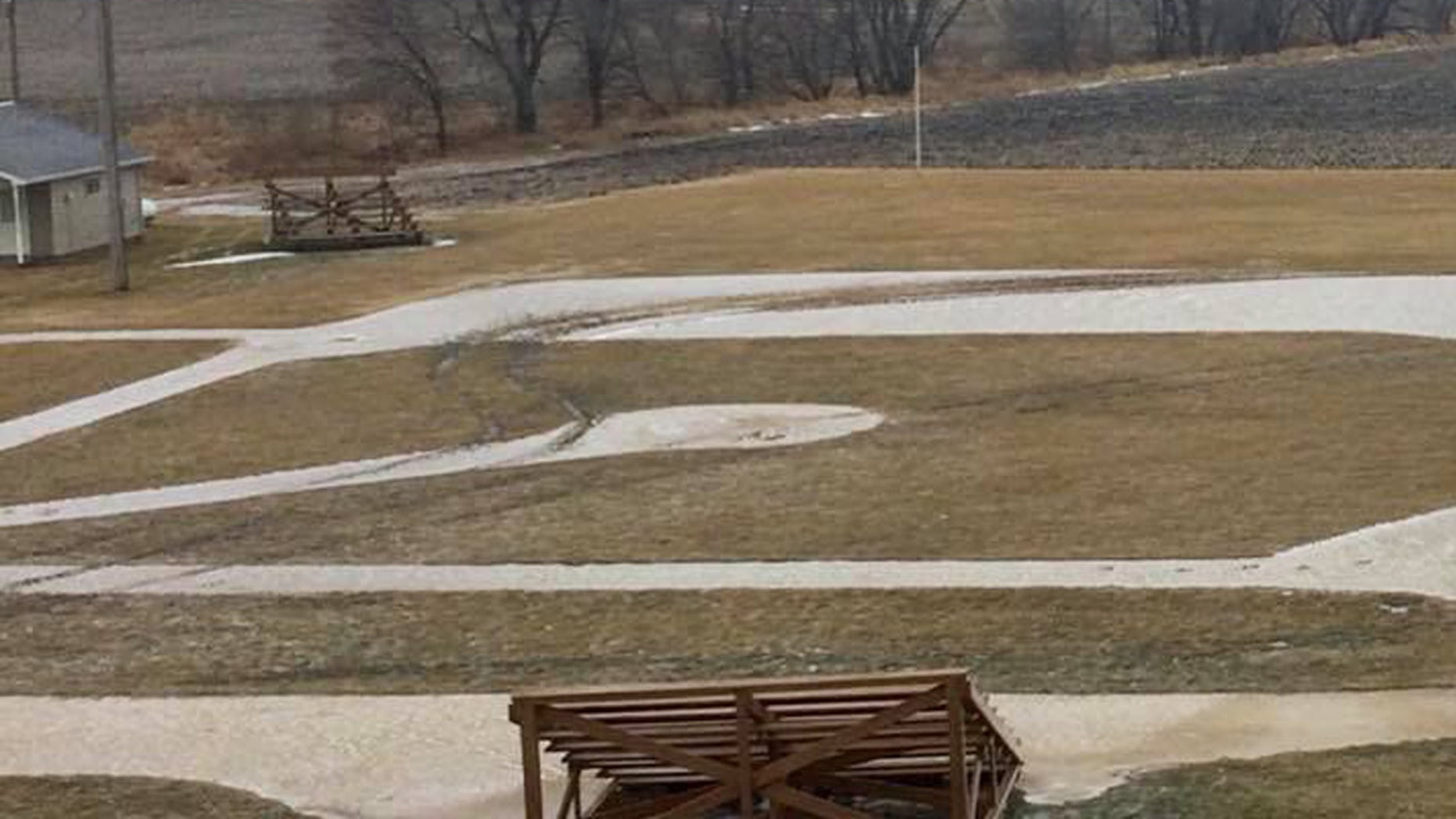 """Damage to the """"Field of Dreams"""" movie site in Dyersville, Iowa, is visible after a vandal drove onto the field."""