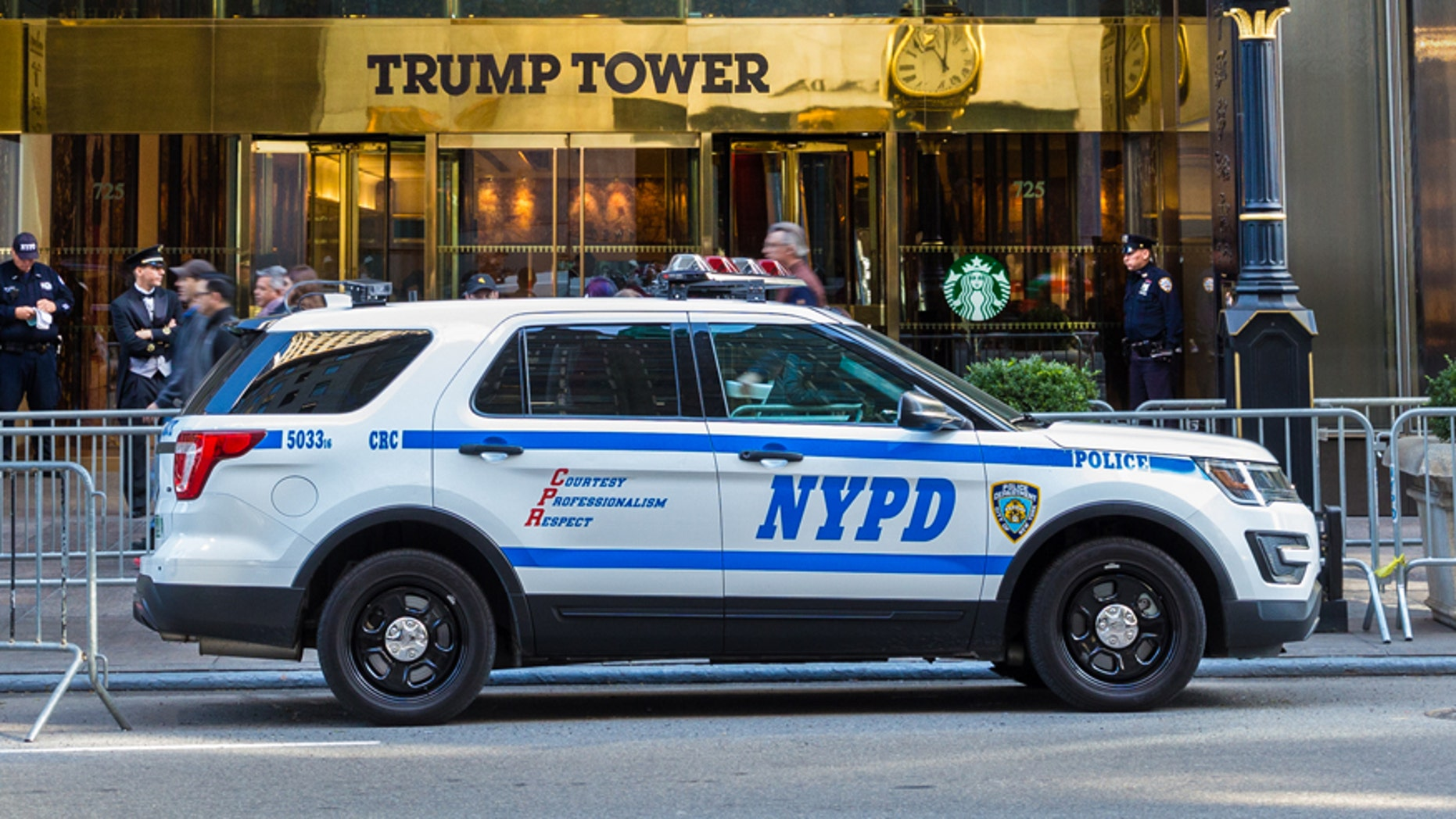 A NYPD police department vehicle is seen in Times Square