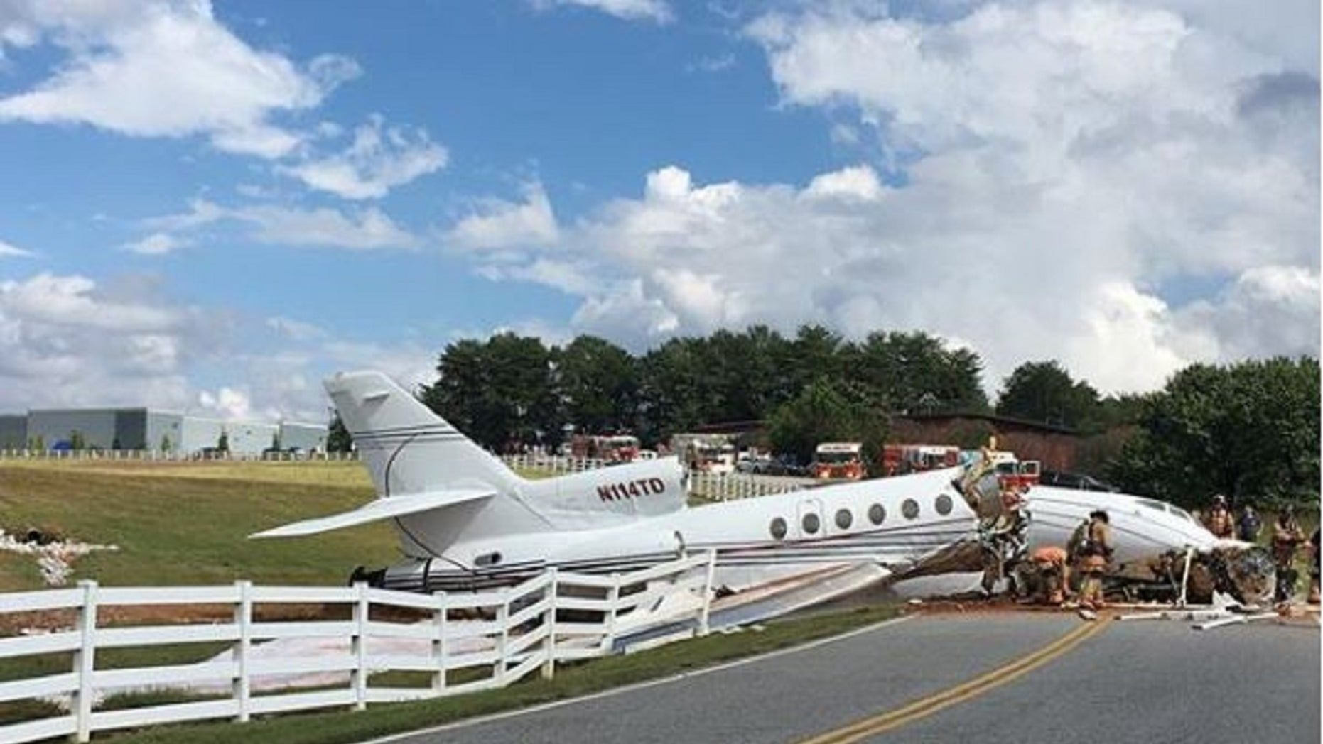 A jet crashed in South Carolina on Thursday after failing to come to a stop on the runway, killing at least two.