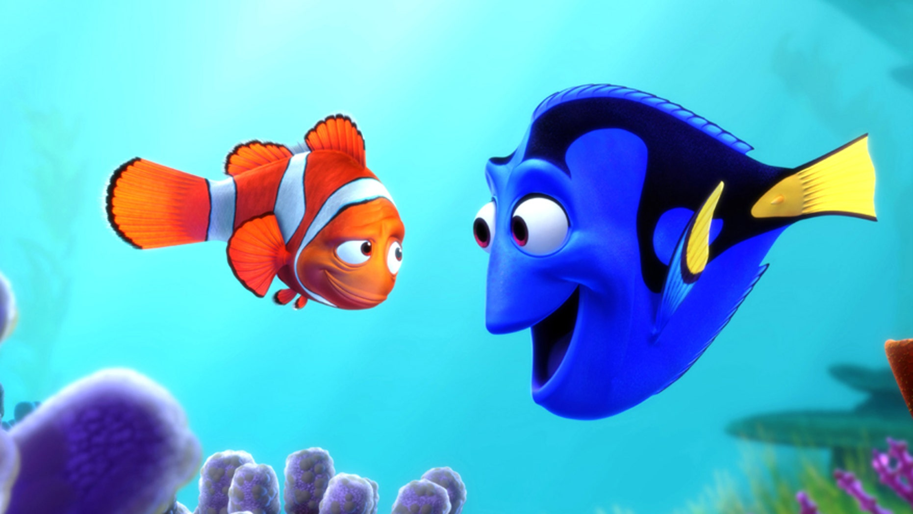 "Marlin the clown fish and Dory the blue tang fish (l-r) in scene from movie ""Finding Nemo."""