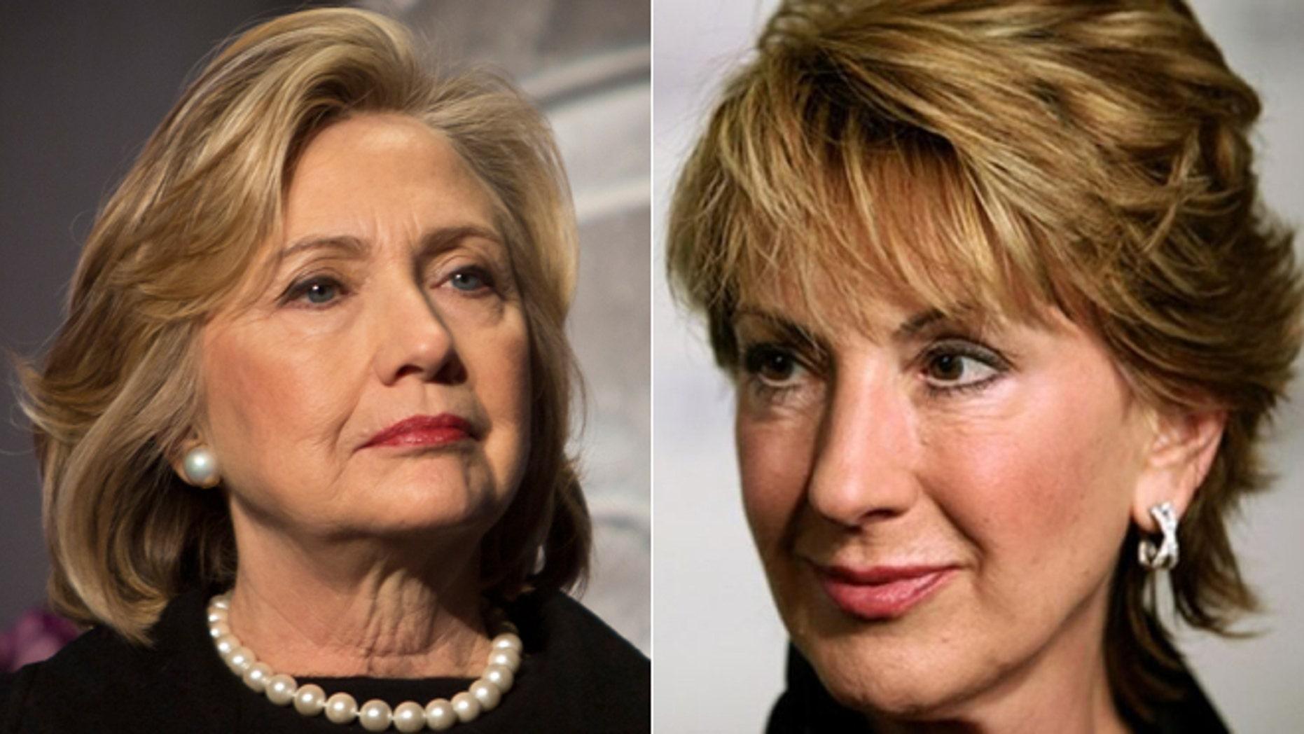 Hillary Rodham Clinton is seen in New York (left) and former Hewlett-Packard CEO Carly Fiorina (right).