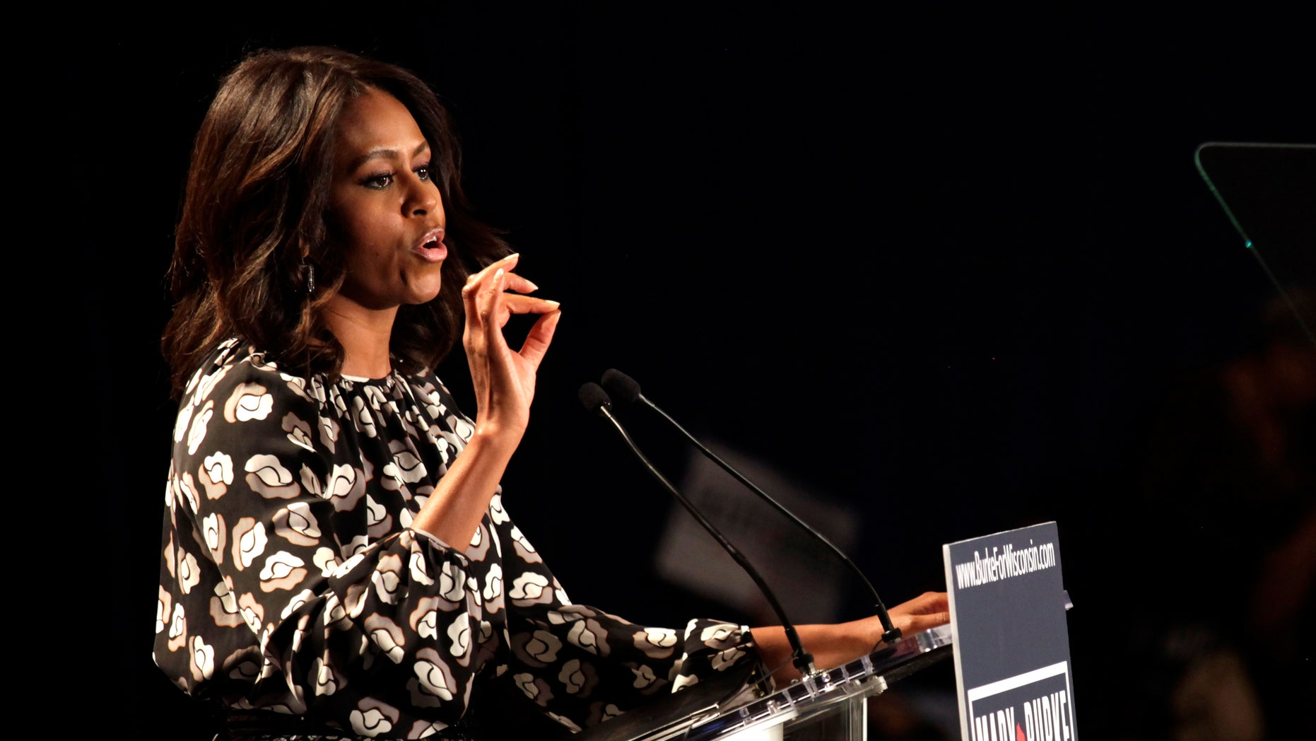 Sept. 29, 2014: First lady Michelle Obama speaks on behalf of Wisconsin Democratic gubernatorial candidate Mary Burke at a campaign rally.