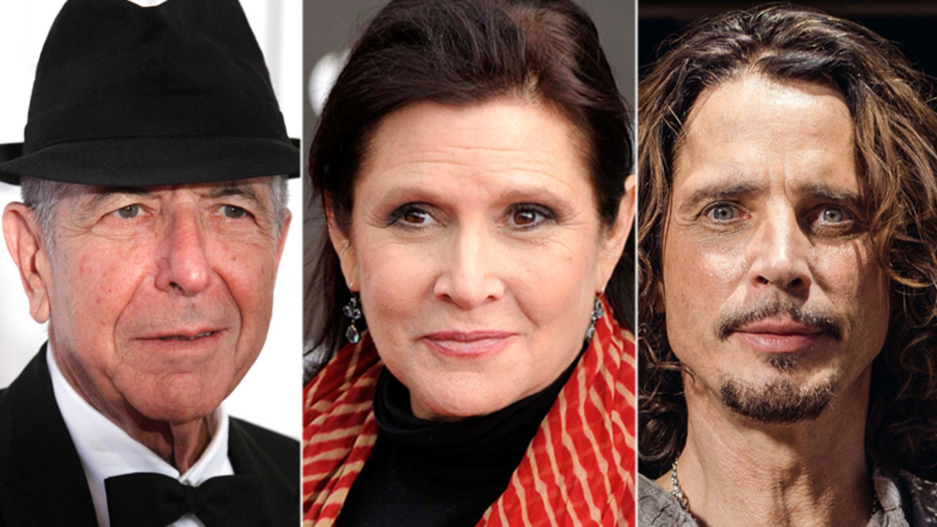 Leonard Cohen, Carrie Fisher, Chris Cornell