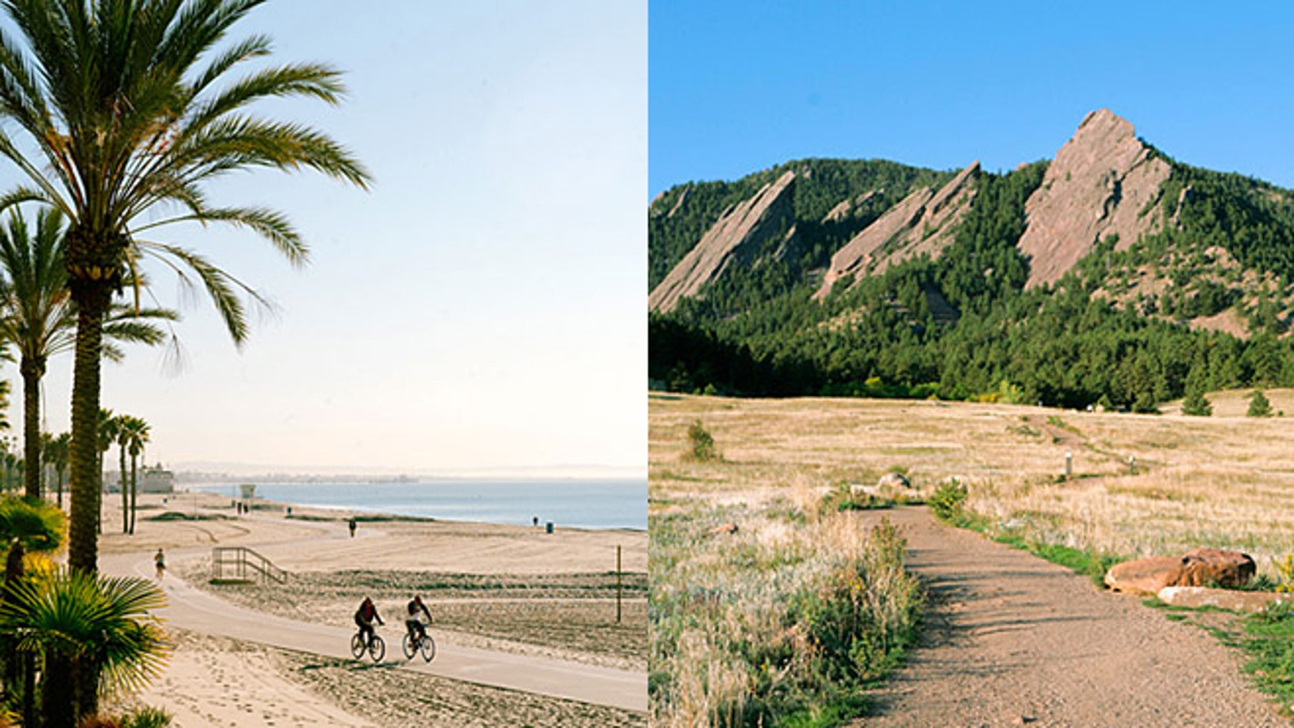 Long Beach, Calif. [left] and Boise, Idaho are among the most fitness-friendly towns in the West.