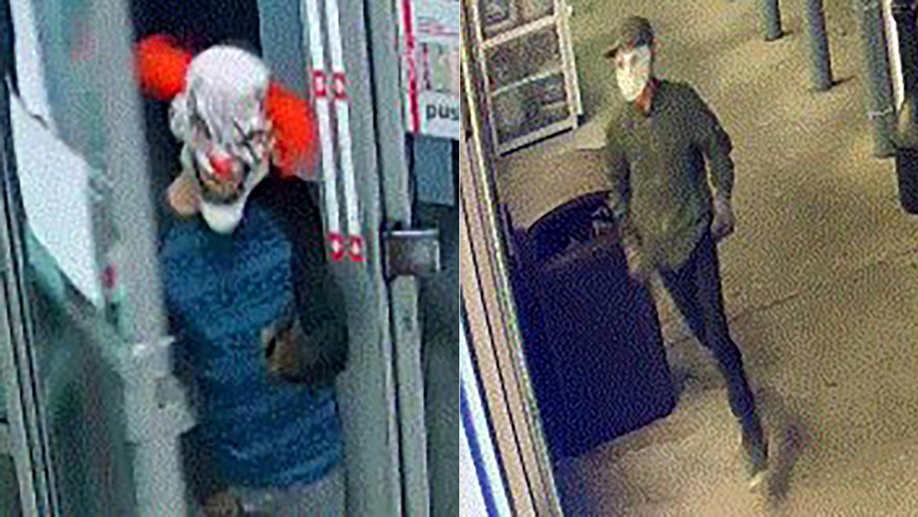 Police say two men -- one in a clown mask and another in a Jason Vorhees mask -- robbed two Florida gas stations.