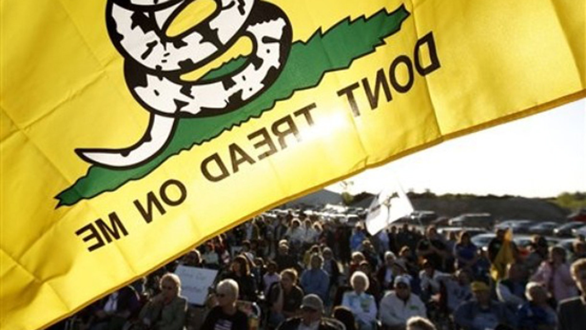 In this April 27 photo, a 'Don't Tread On Me' flag flies over Republican and Tea Party protesters during a rally at Leo O'Laughlin Inc. on the eve of President Obama's visit to Macon, Mo. (AP Photo)