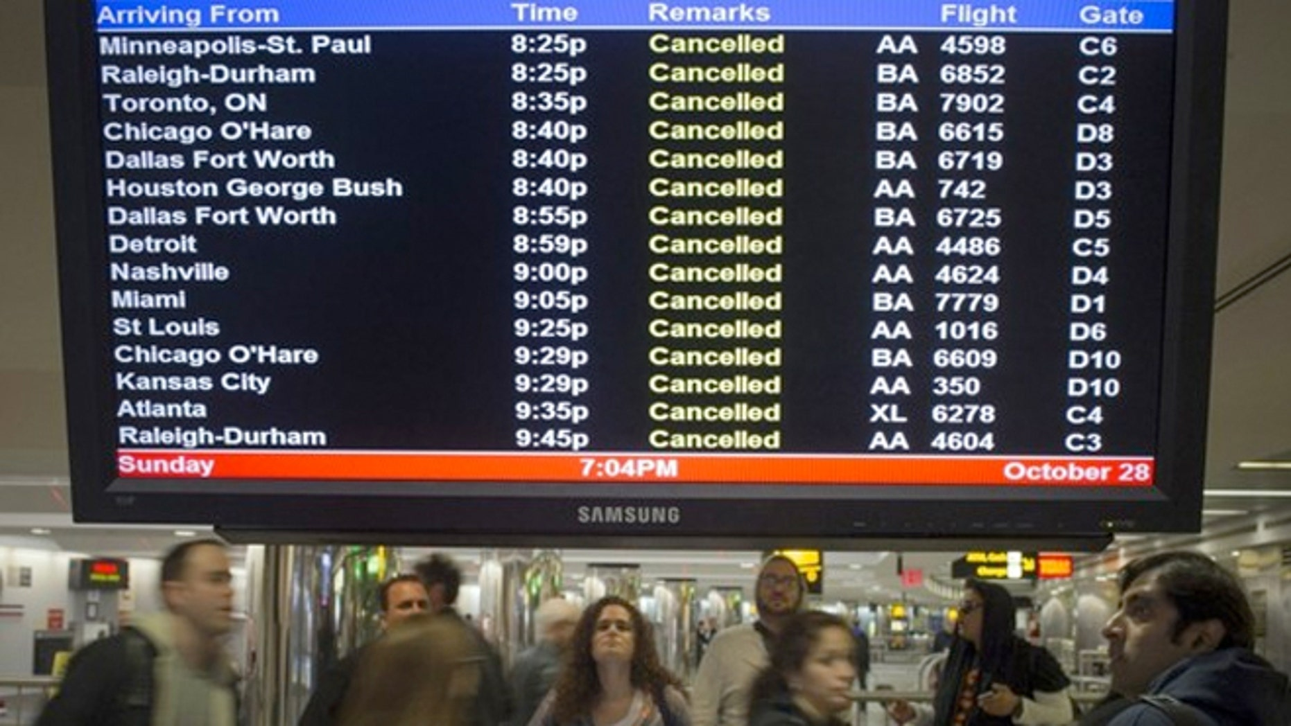 Hurricane Sandy's powerful winds is already affecting the region and cancelling thousands of flights.