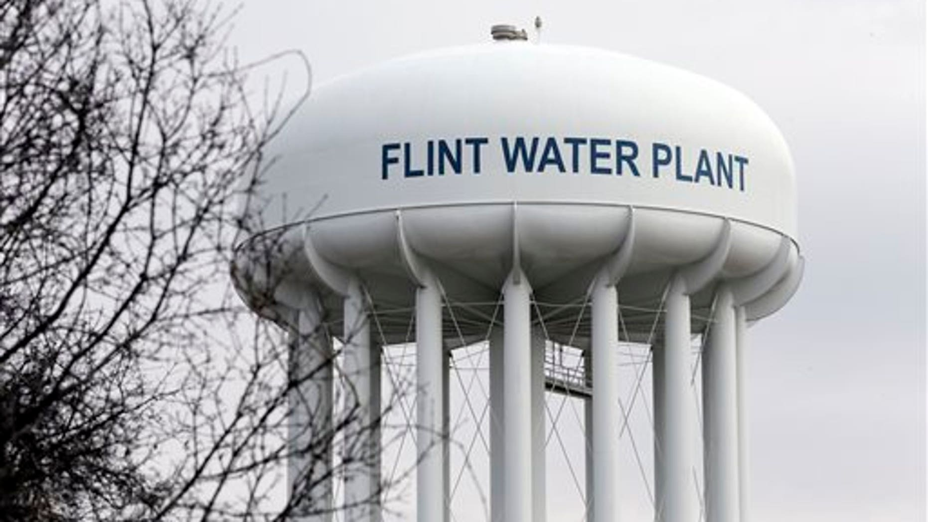 This Feb. 5, 2016 file photo shows the Flint Water Plant tower in Flint, Mich. Michigan.