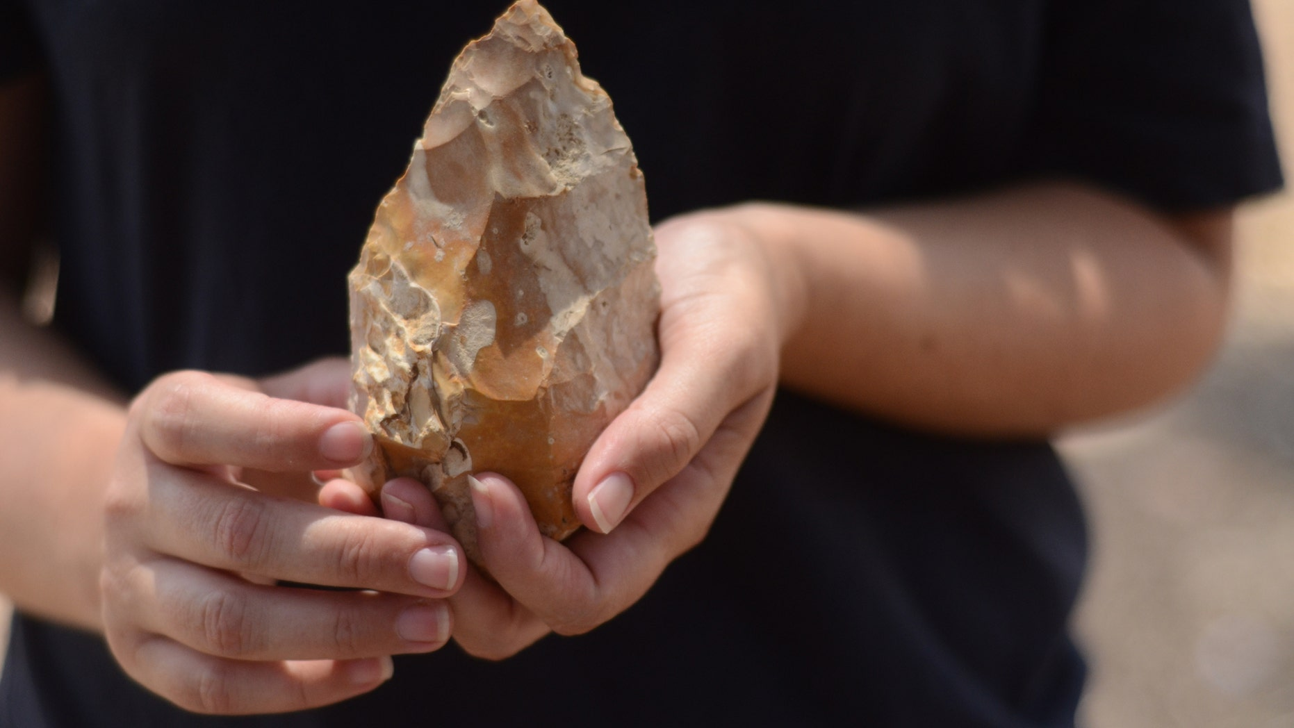 Hundreds of hand axes were uncovered in the excavation. (Samuel Magal, Courtesy of the Israel Antiquities Authority)