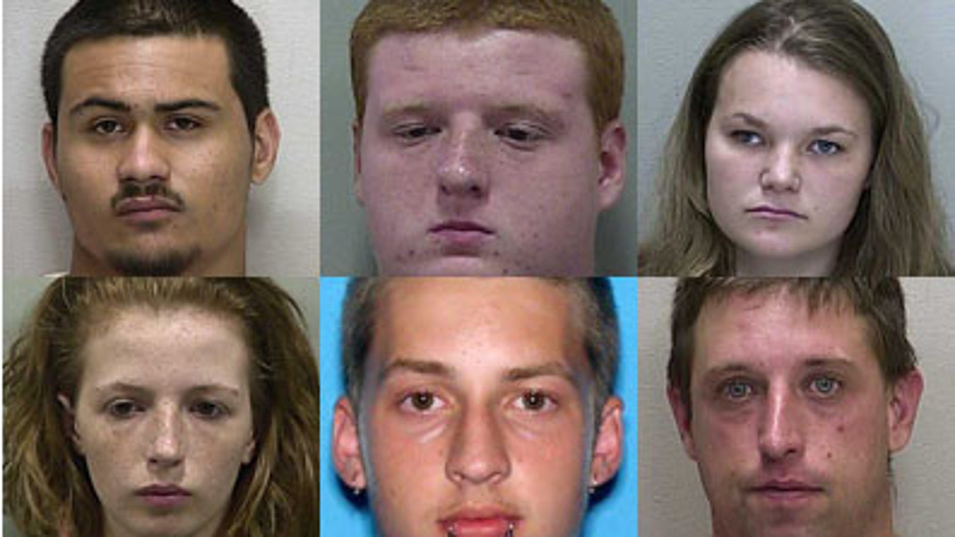 The six suspects in connection with the crime. Pictured clockwise:  Justin Soto, Kyle Hooper, Charlie Kay Ely, James Havens, Michael Bargo, Amber Wright.