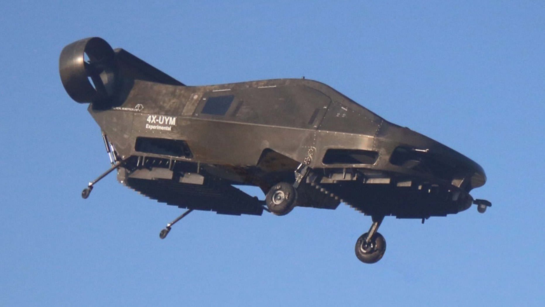 This image provided by Urban Aeronautics/Tactical Robotics shows an Israeli-made flying car. Urban Aeronautics conducted flight tests of its passenger-carrying drone call the Cormorant.