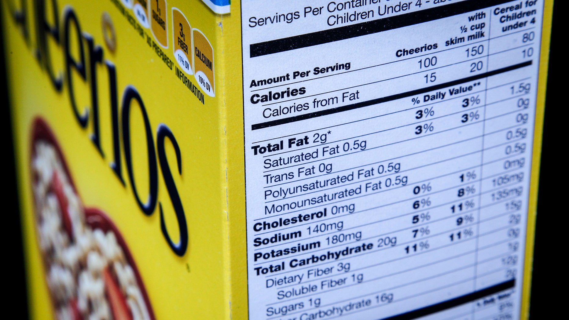 FILE - In this Jan. 23, 2014 file photo, the nutrition facts label on the side of a cereal box is photographed in Washington. Nutrition facts labels on food packages are getting a long-awaited makeover, with calories listed in bigger, bolder type and a new line for added sugars. (AP Photo/J. David Ake, File)