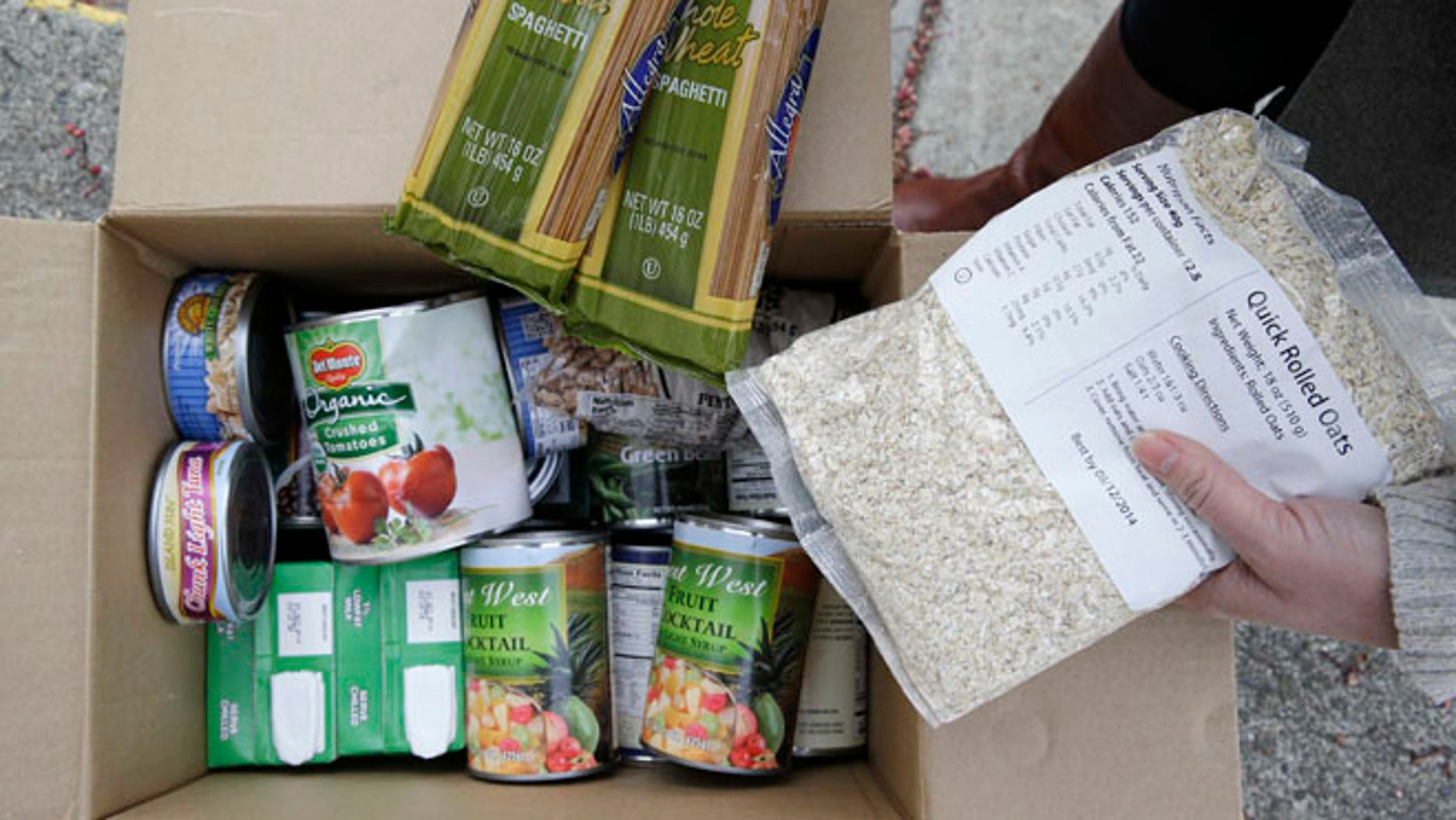 Jan. 8, 2014: Shown here is a specially prepared box of food at a food bank distribution in Petaluma, Calif.