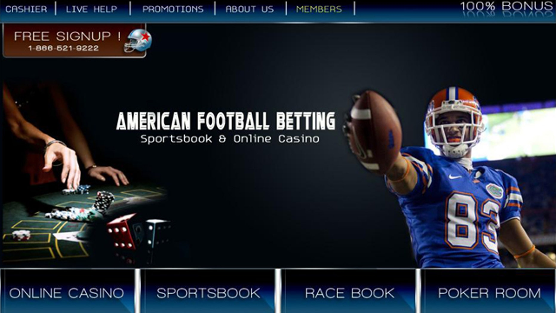 A screen capture of AmericanFootballBetting.com, one of many Web sites dedicated to online gaming.