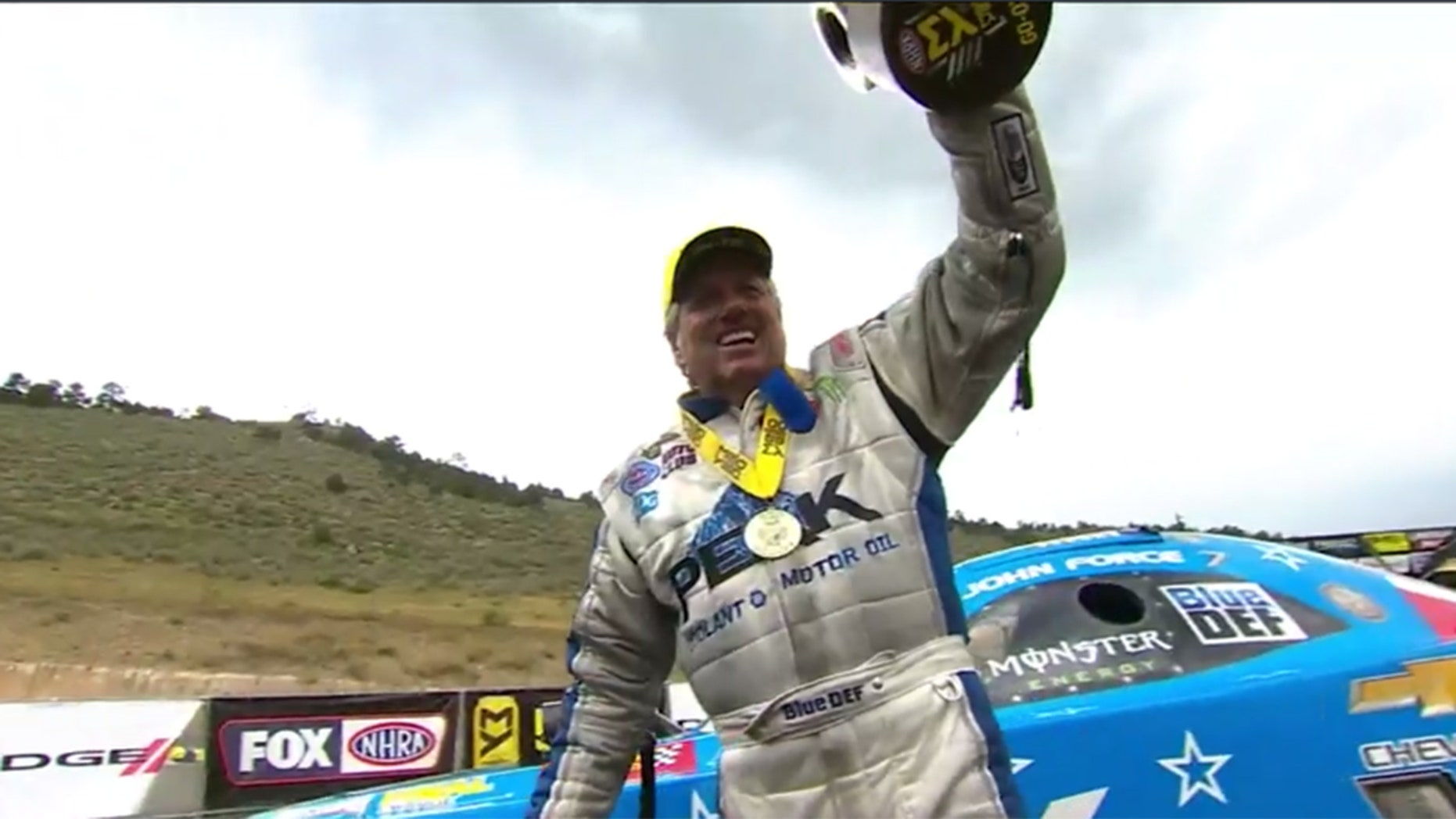 John Force set a new record for oldest person to win an NHRA Funny Car race with his victory at the Dodge Mile-High Nationals in Colorado on Sunday.