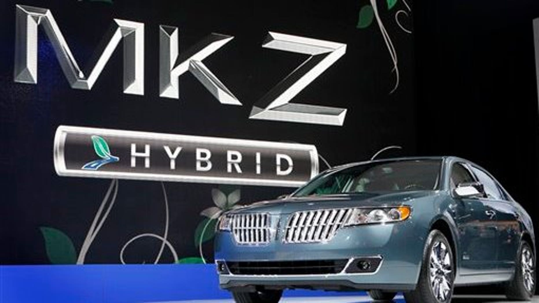 March 31: A new Lincoln MKZ Hybrid is unveiled at the New York International Auto Show in New York. Ford Motor Co. will soon have a first in the U.S. auto market: a hybrid sedan that costs the same as the gas-powered version. (AP)
