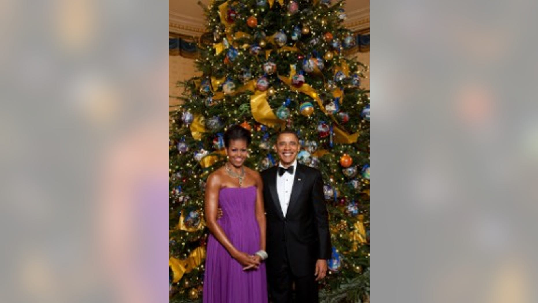 President Barack Obama and First Lady Michelle Obama pose for a formal portrait in front of the official White House Christmas Tree in the Blue Room of the White House, Dec. 6, 2009. (Official White House Photo by Lawrence Jackson)