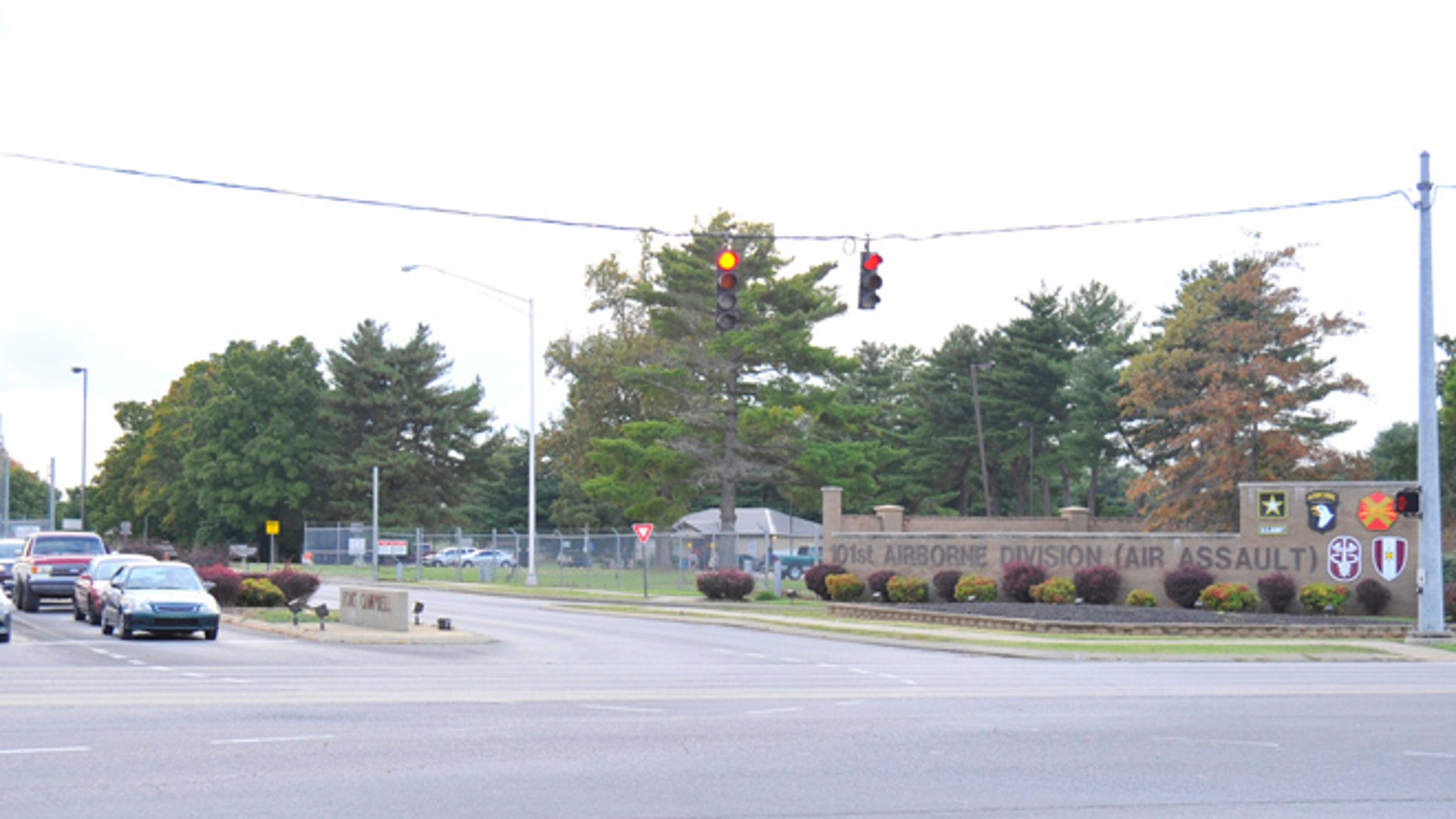 A gate to Fort Campbell in Kentucky.