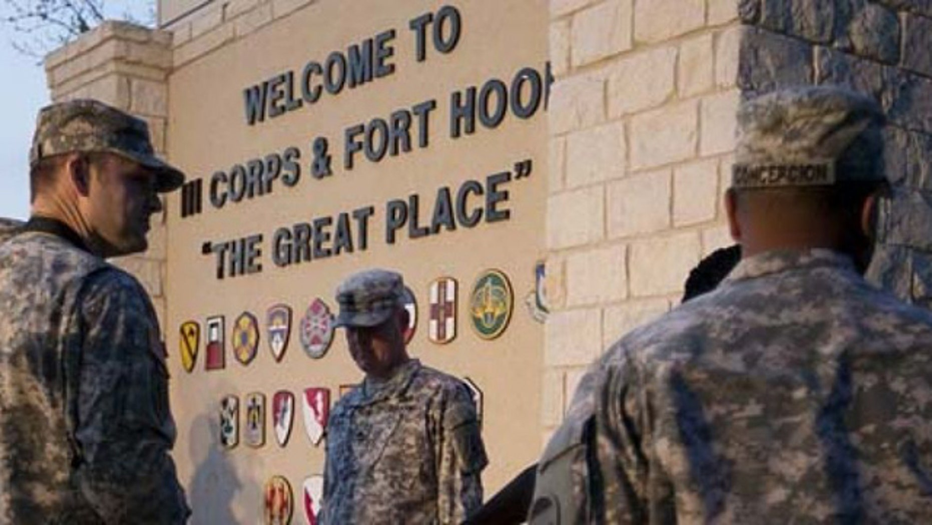 Soldiers outside the gate at Fort Hood, Texas. (AP)
